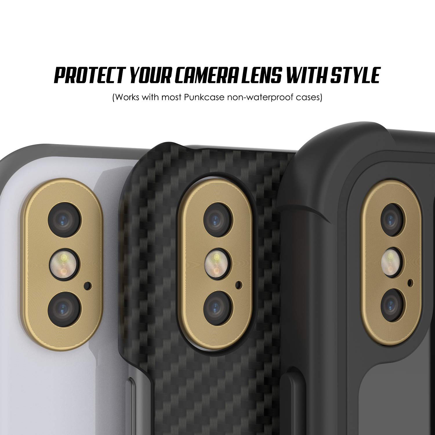Punkcase iPhone XS Camera Protector Ring [Gold]