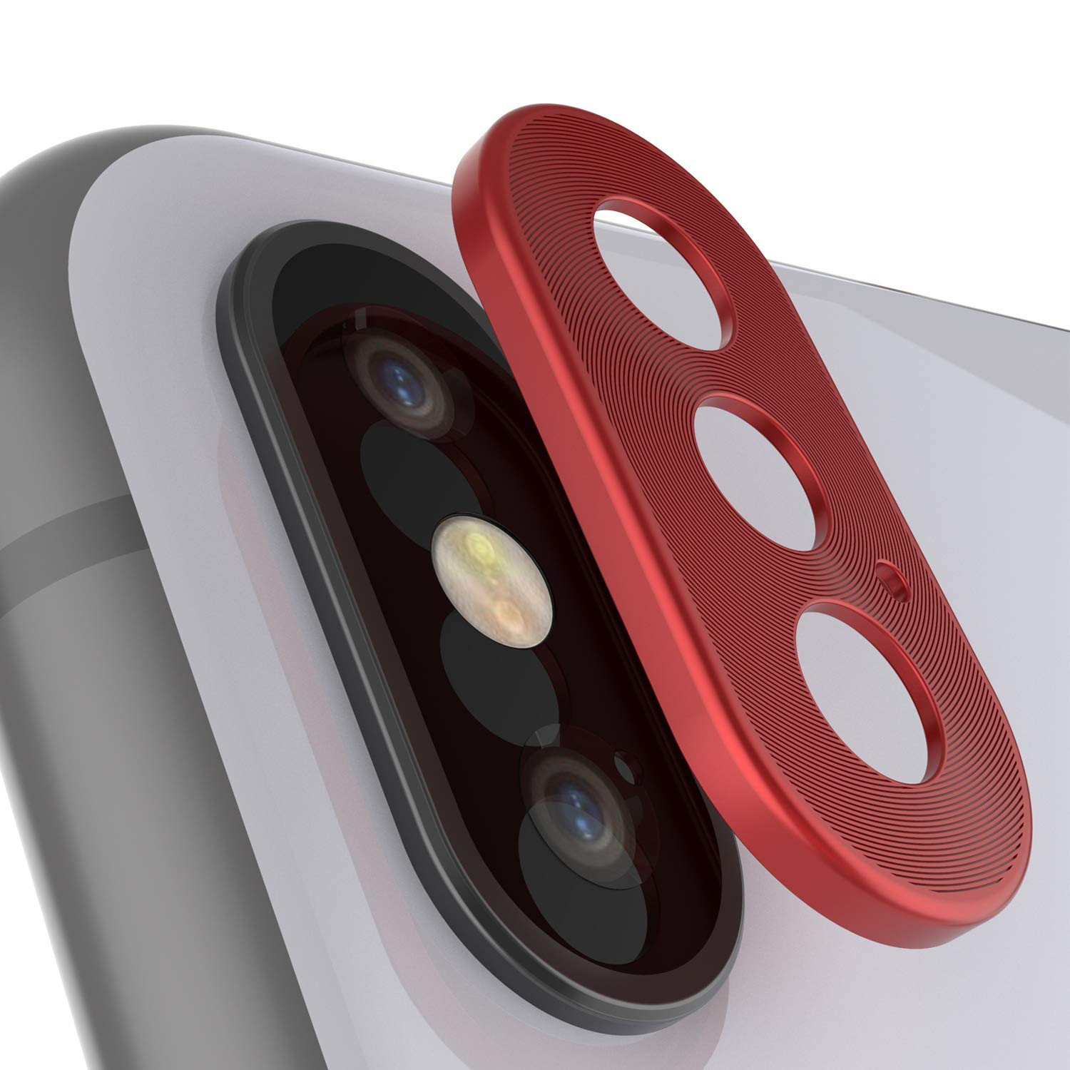Punkcase iPhone XS Max Camera Protector Ring [Red]