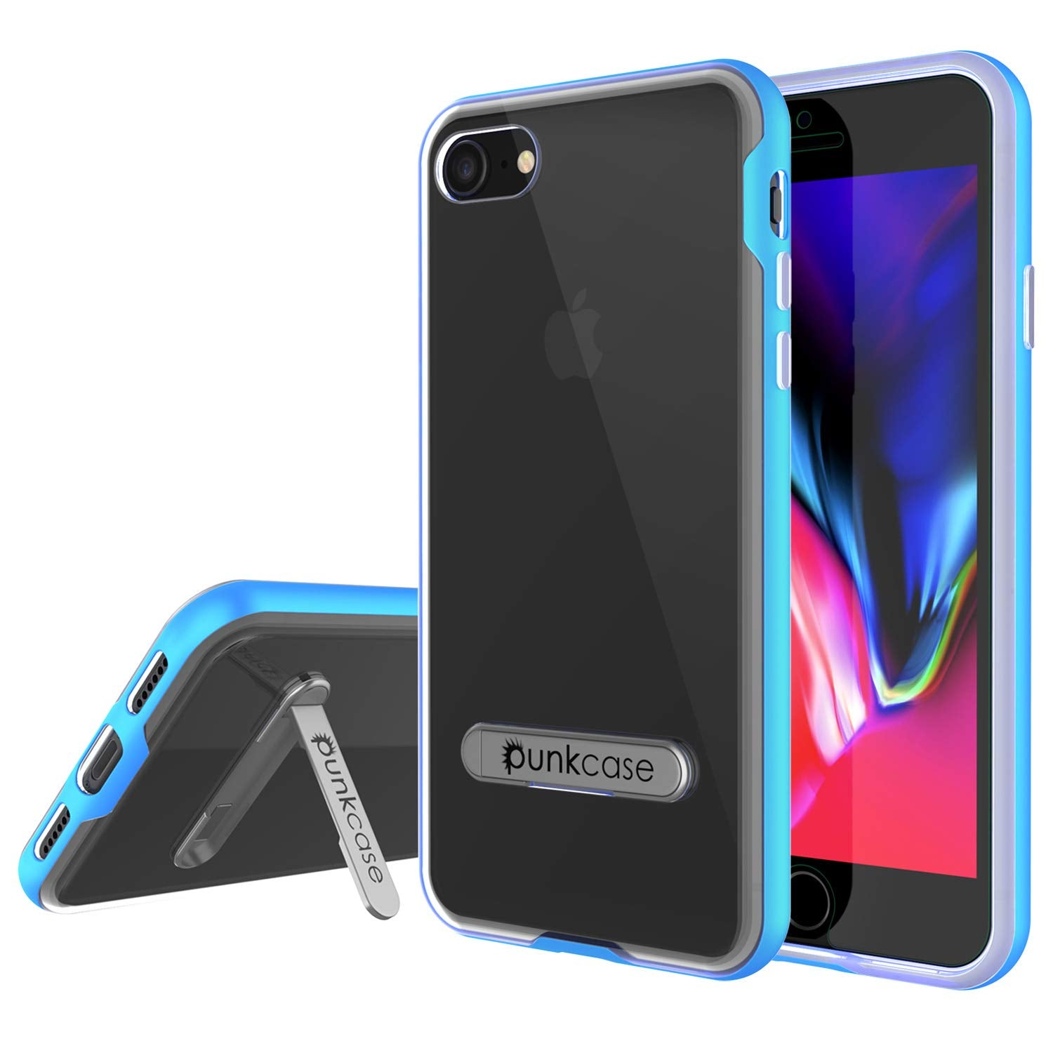 low priced b7d65 aefd0 PunkCase iPhone 8 Lucid 3.0 Screen Protector W/ Anti-Shock Case [Blue]