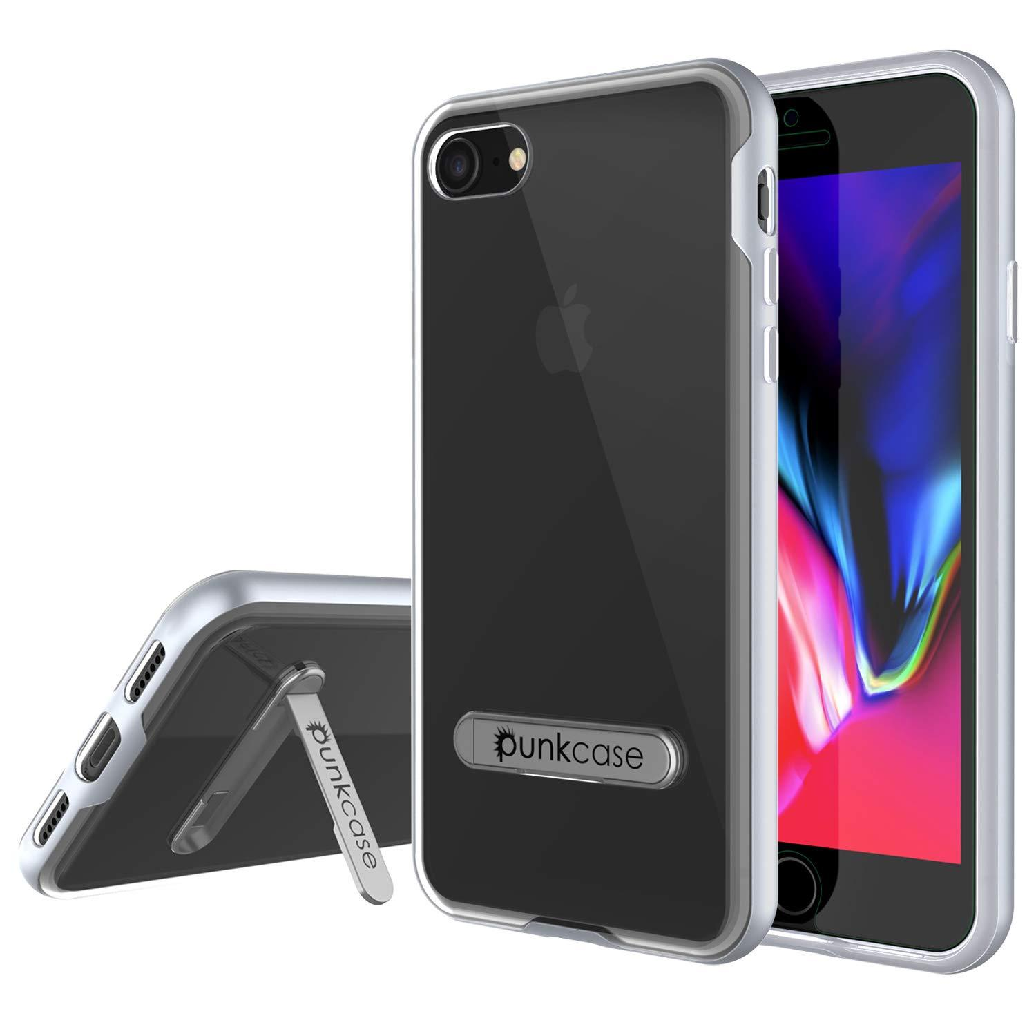 "PunkCase iPhone SE (4.7"") Lucid 3.0 Screen Protector W/ Anti-Shock Case [Silver]"