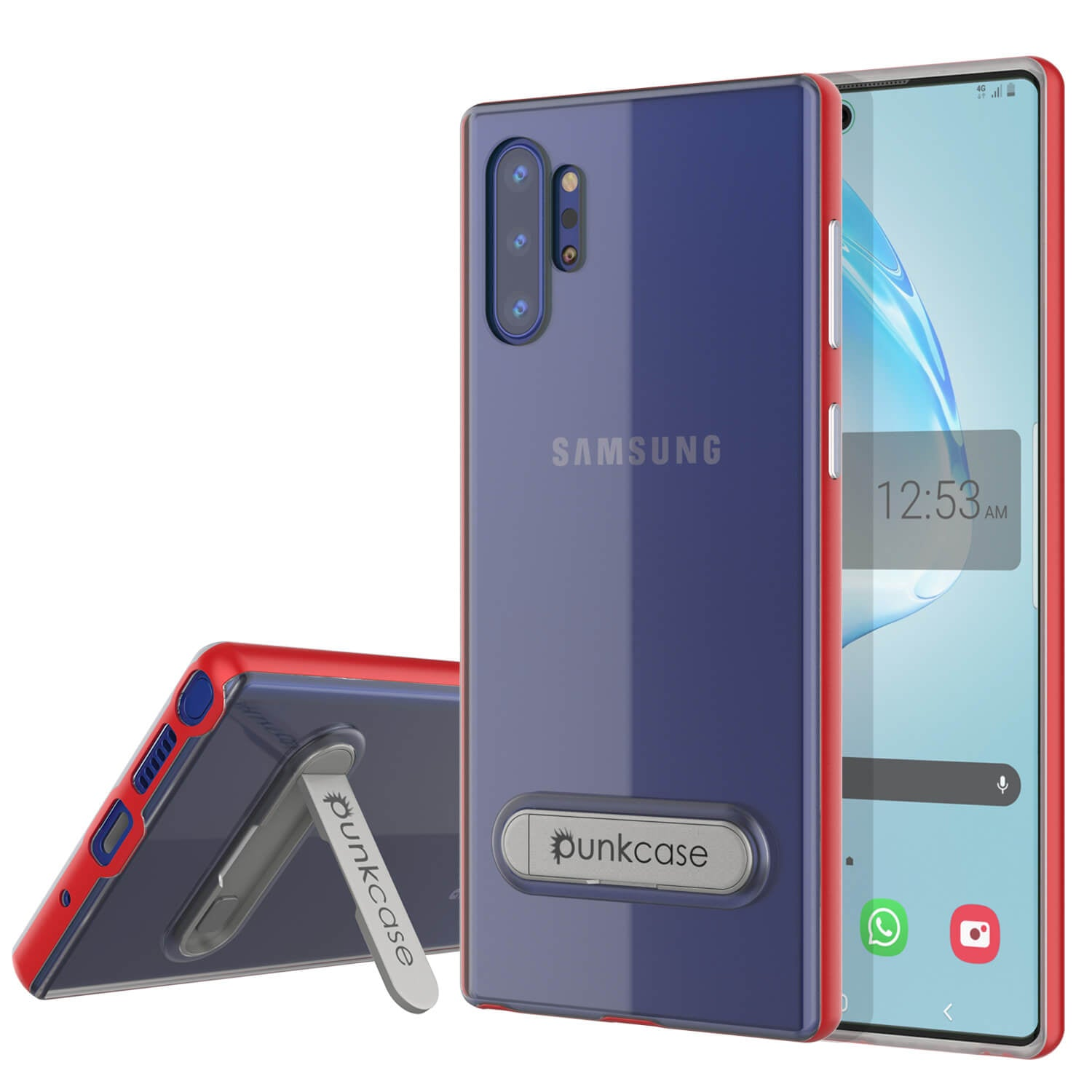 Galaxy Note 10+ Plus Lucid 3.0 PunkCase Armor Cover w/Integrated Kickstand and Screen Protector [Red]