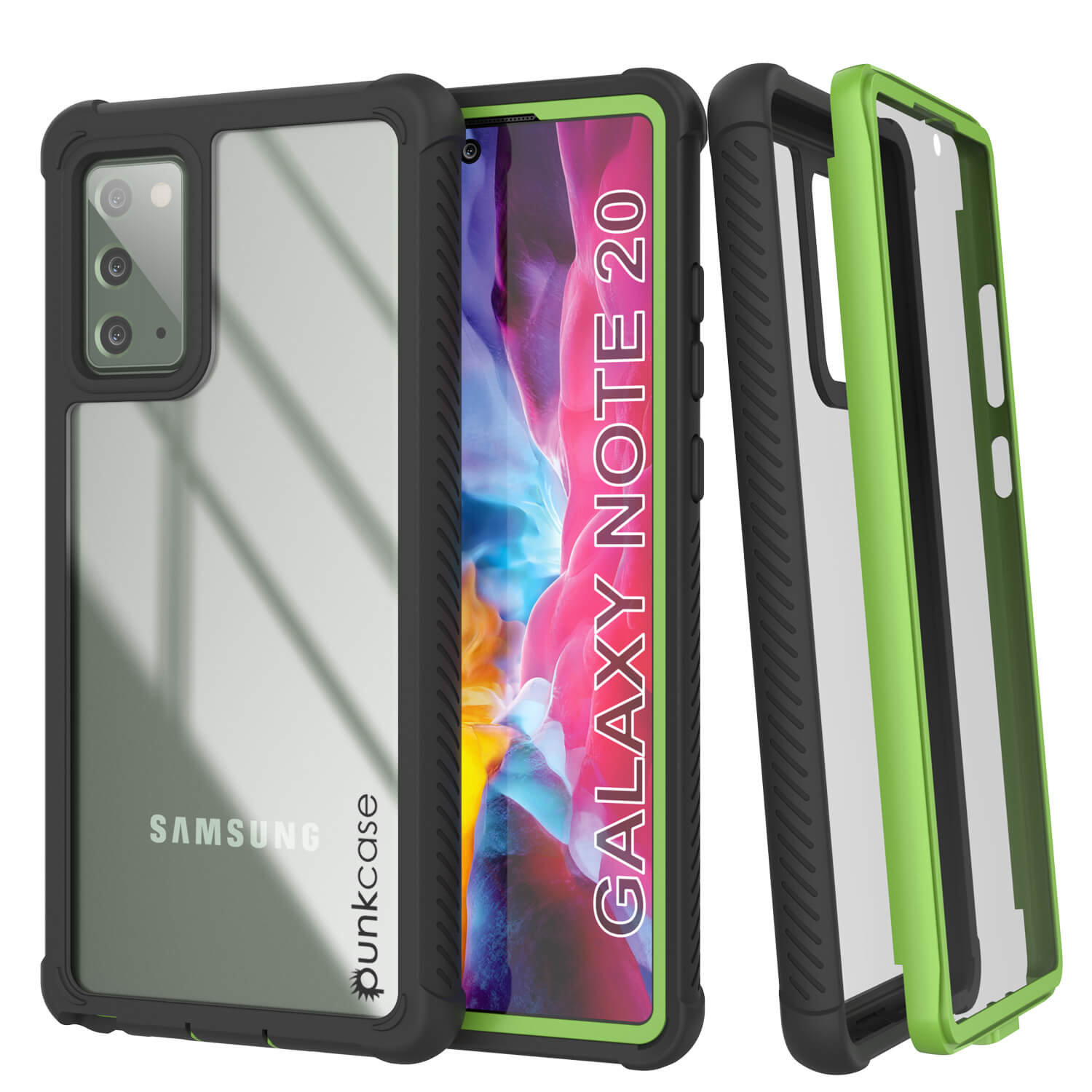 Punkcase Galaxy Note 20 Case, [Spartan Series] Light Green Rugged Heavy Duty Cover W/Built in Screen Protector