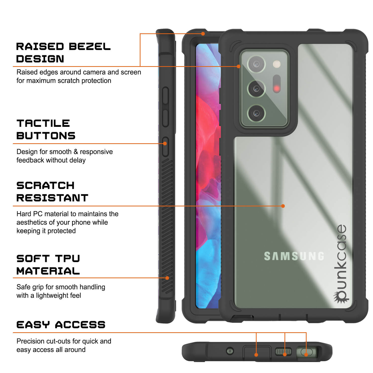Punkcase Galaxy Note 20 Ultra Case, [Spartan Series] Black Rugged Heavy Duty Cover W/Built in Screen Protector
