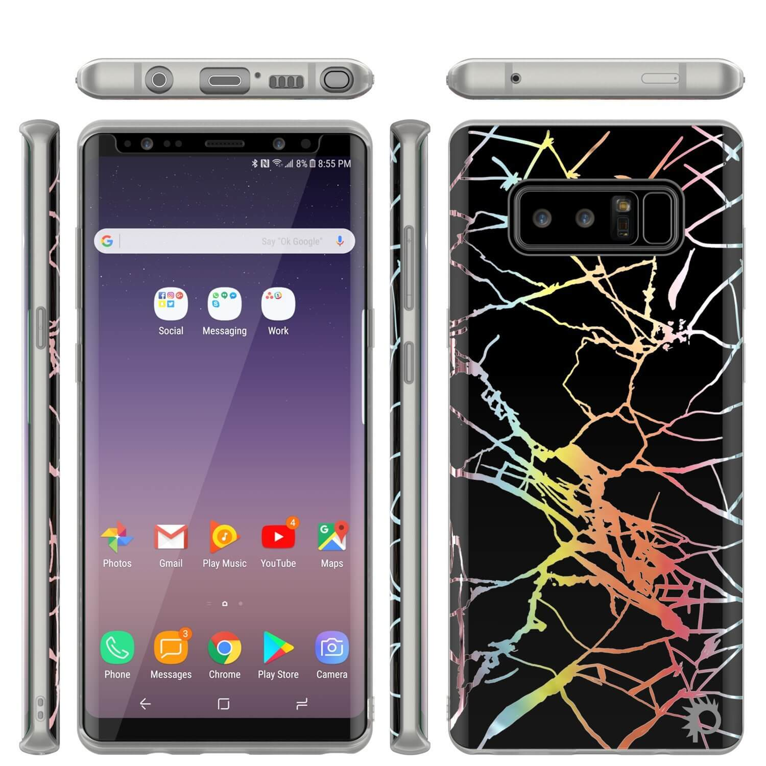 Galaxy Note 8 Full Body W/ Screen Protector Marble Case (Black Mirage)