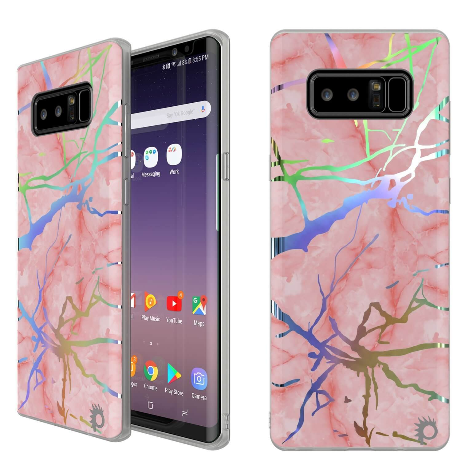 Galaxy Note 8 Full Body W/ Screen Protector Marble Case (Rose Mirage)
