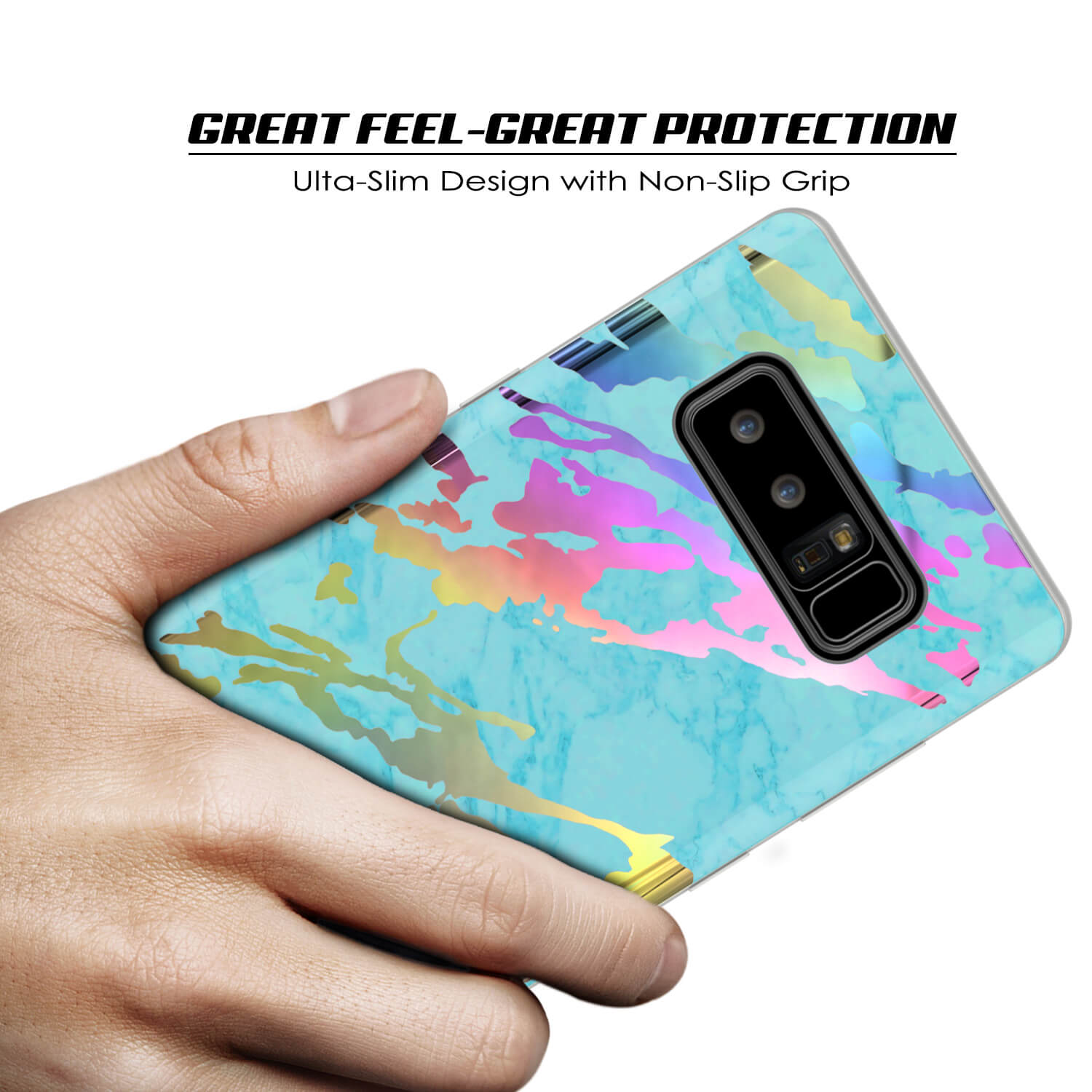 Galaxy Note 8 Full Body W/ Screen Protector Marble Case [Teal Onyx]