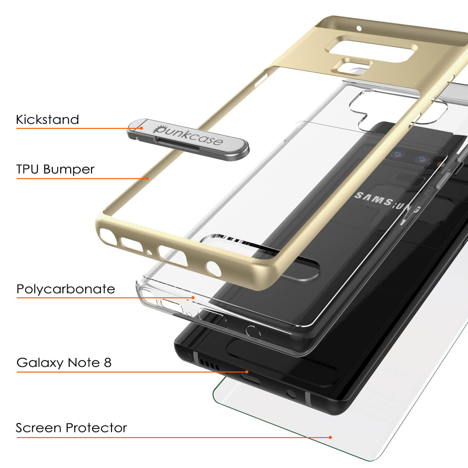 Galaxy Note 9 Lucid 3.0 PunkCase Armor Cover w/Integrated Kickstand and Screen Protector [Gold]