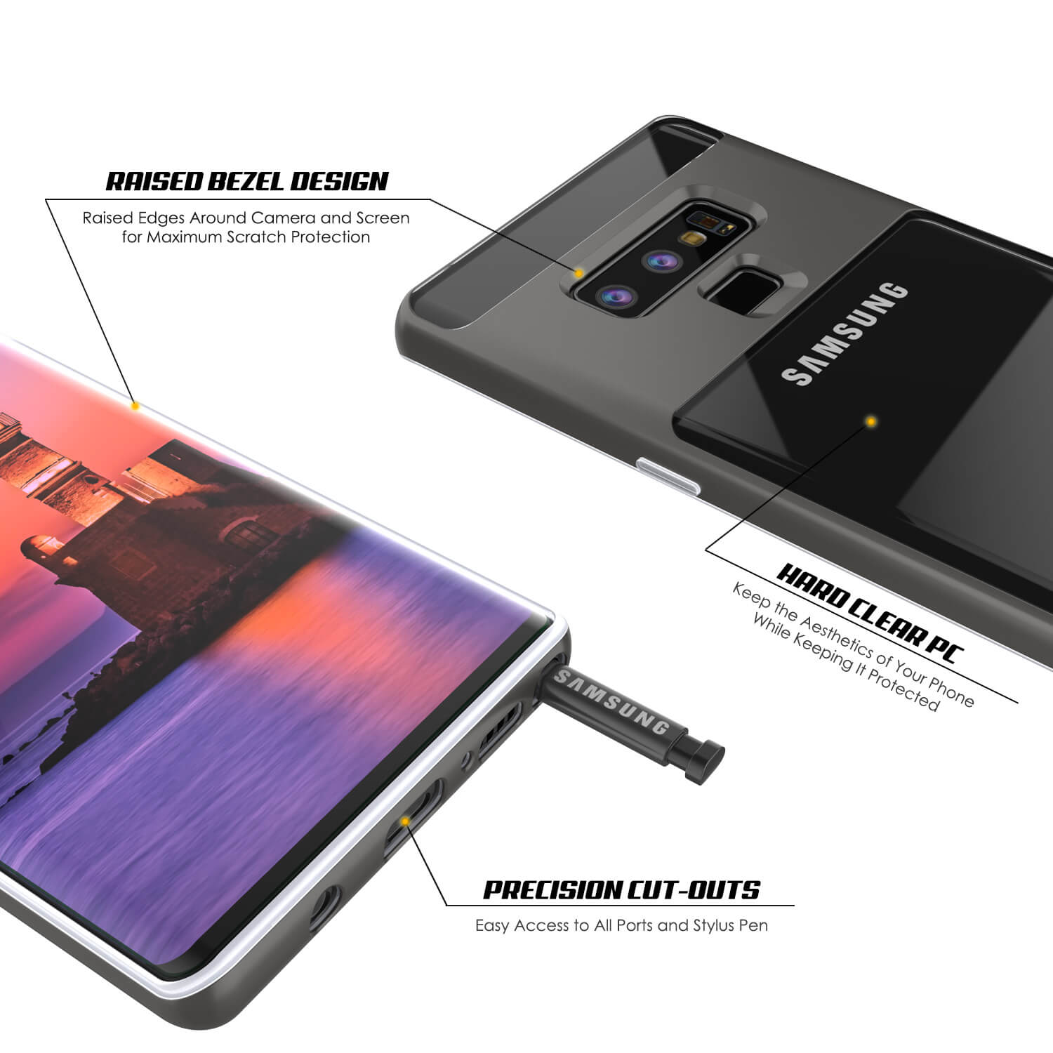Galaxy Note 9 Lucid 3.0 PunkCase Armor Cover w/Integrated Kickstand and Screen Protector [Grey]