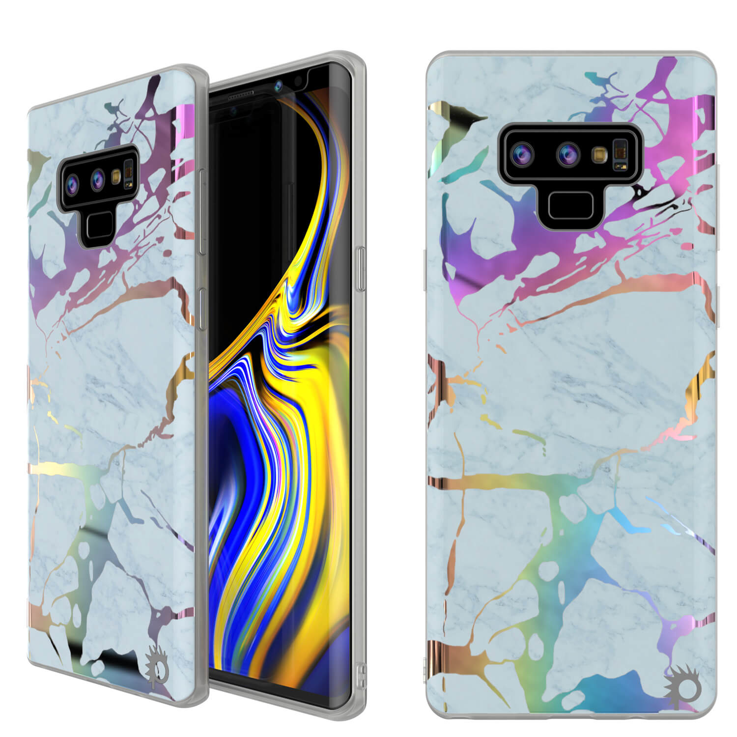Galaxy Note 9 Full Body W/ Screen Protector Marble Case (Blue Marmo)