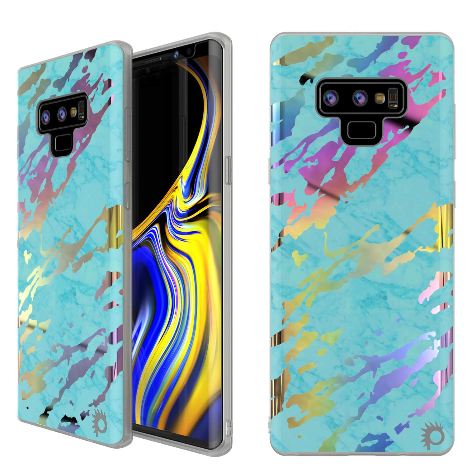 Galaxy Note 9 Full Body W/ Screen Protector Marble Case [Teal Onyx]