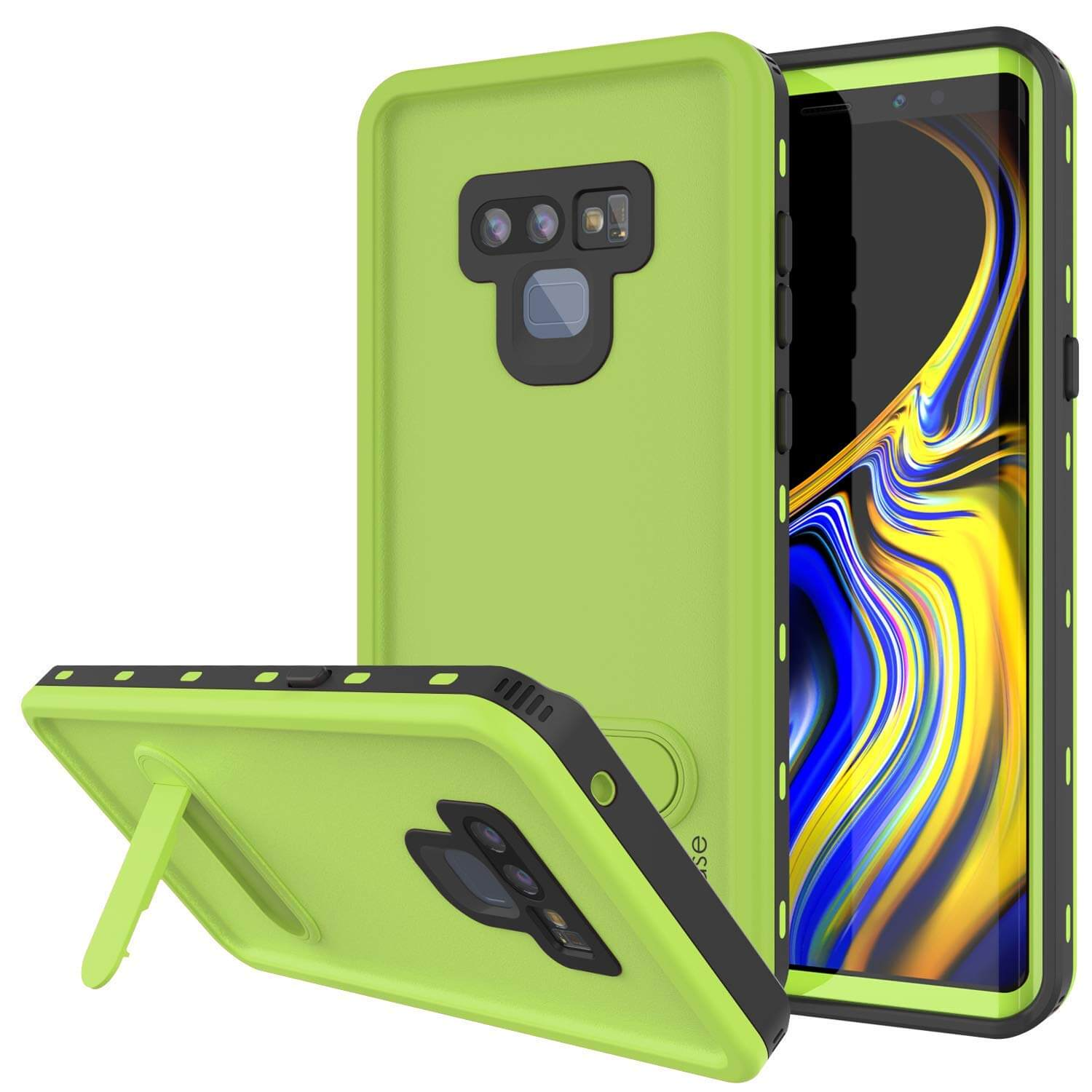 PunkCase Galaxy Note 9 Waterproof Case, [KickStud Series] Armor Cover [Light-Green]