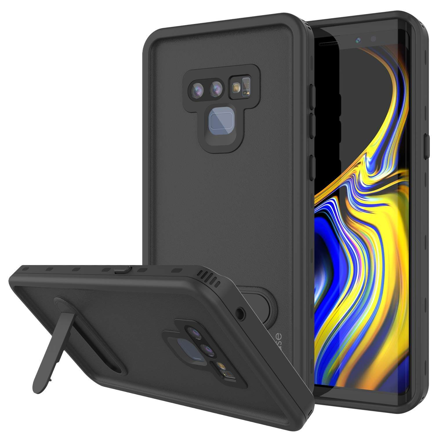 PunkCase Galaxy Note 9 Waterproof Case, [KickStud Series] Armor Cover [Black]