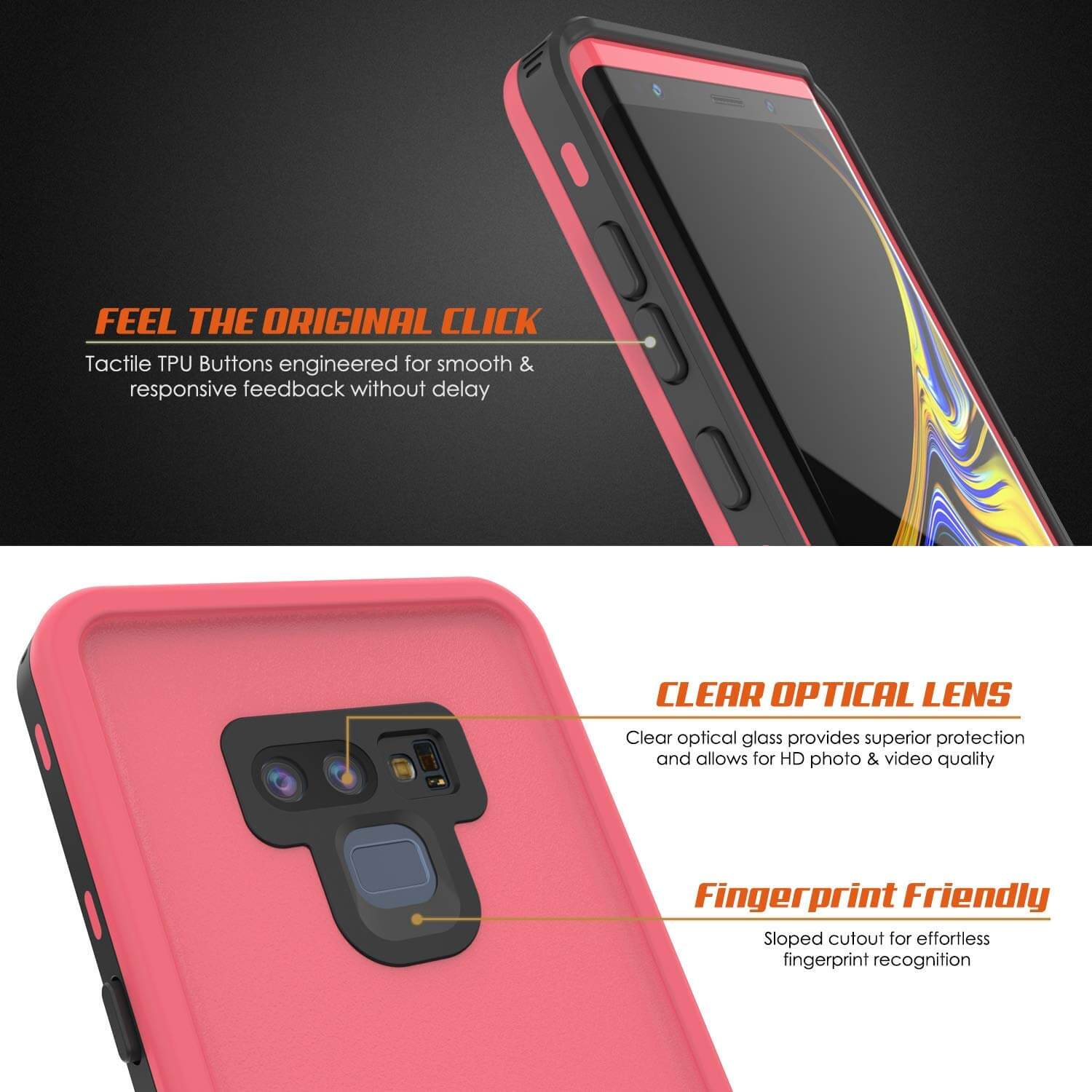 PunkCase Galaxy Note 9 Waterproof Case, [KickStud Series] Armor Cover [Pink]