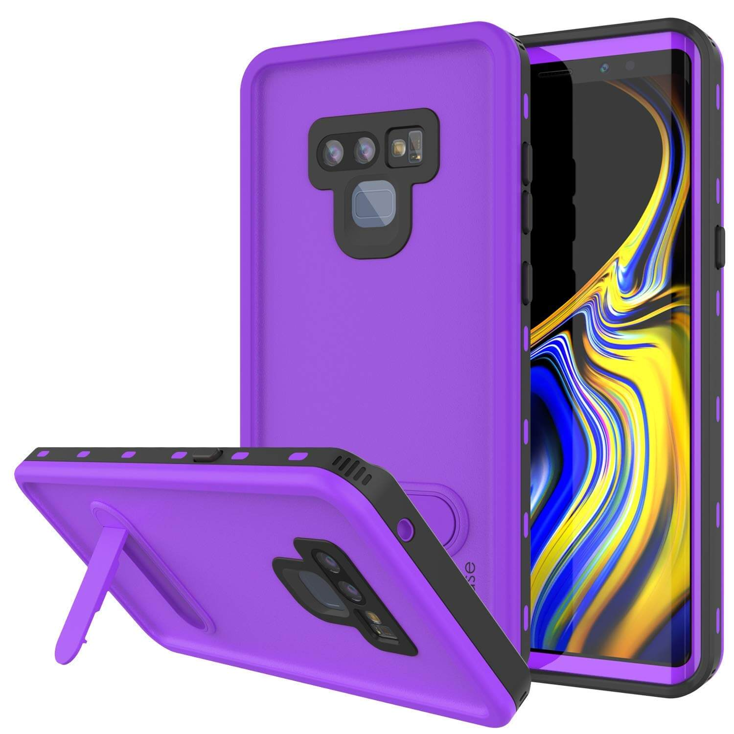 PunkCase Galaxy Note 9 Waterproof Case, [KickStud Series] Armor Cover [Purple]