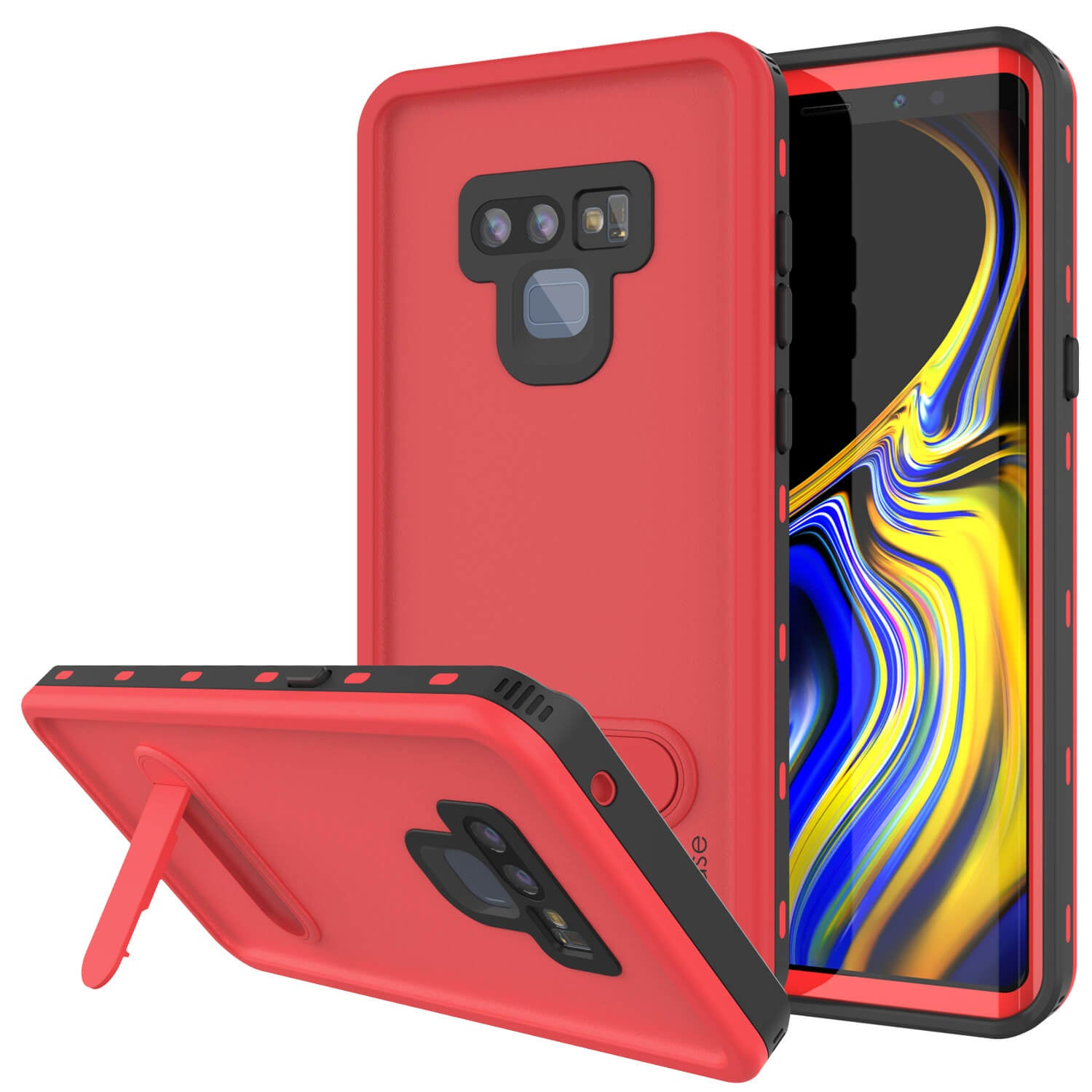 PunkCase Galaxy Note 9 Waterproof Case, [KickStud Series] Armor Cover [Red]