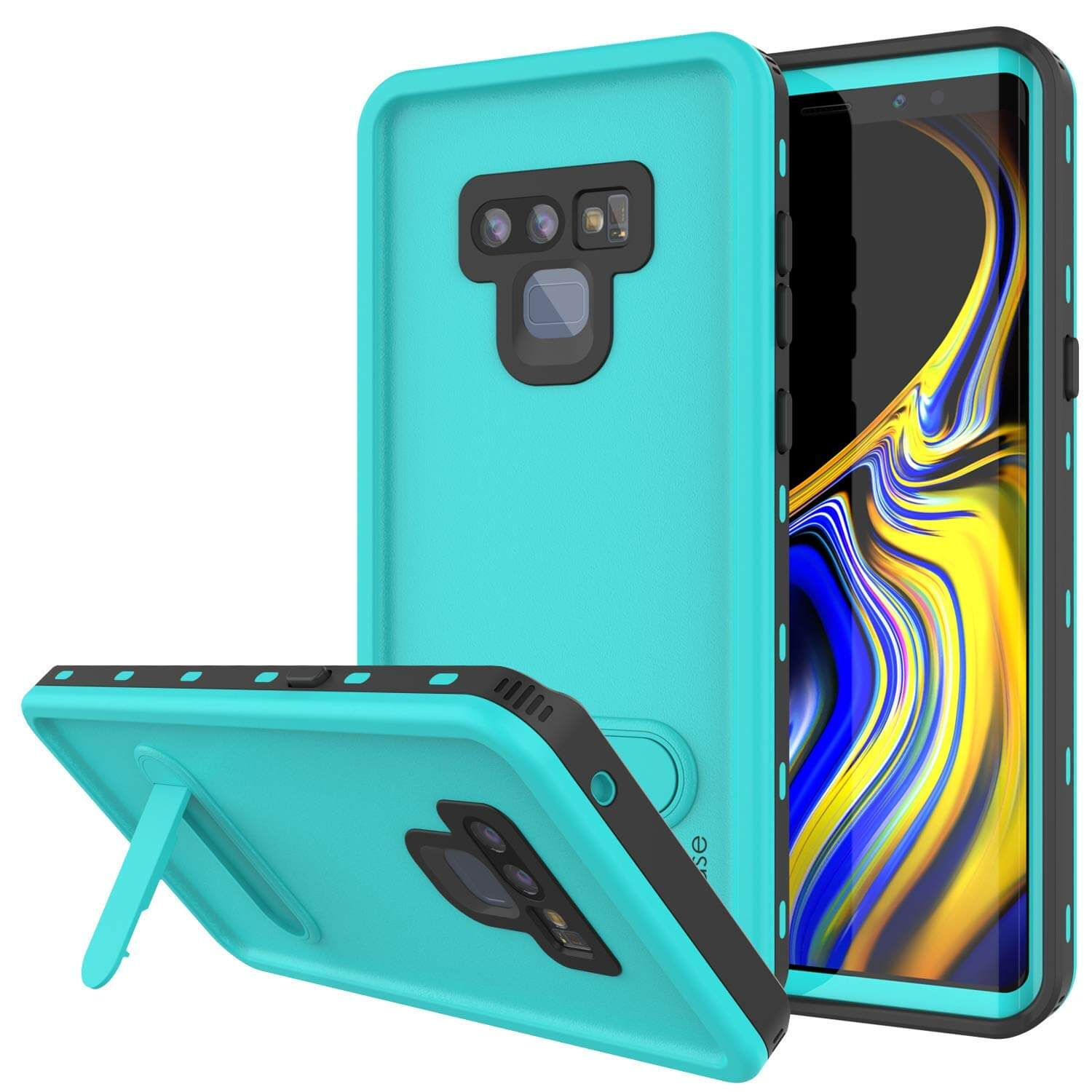 PunkCase Galaxy Note 9 Waterproof Case, [KickStud Series] Armor Cover [Teal]