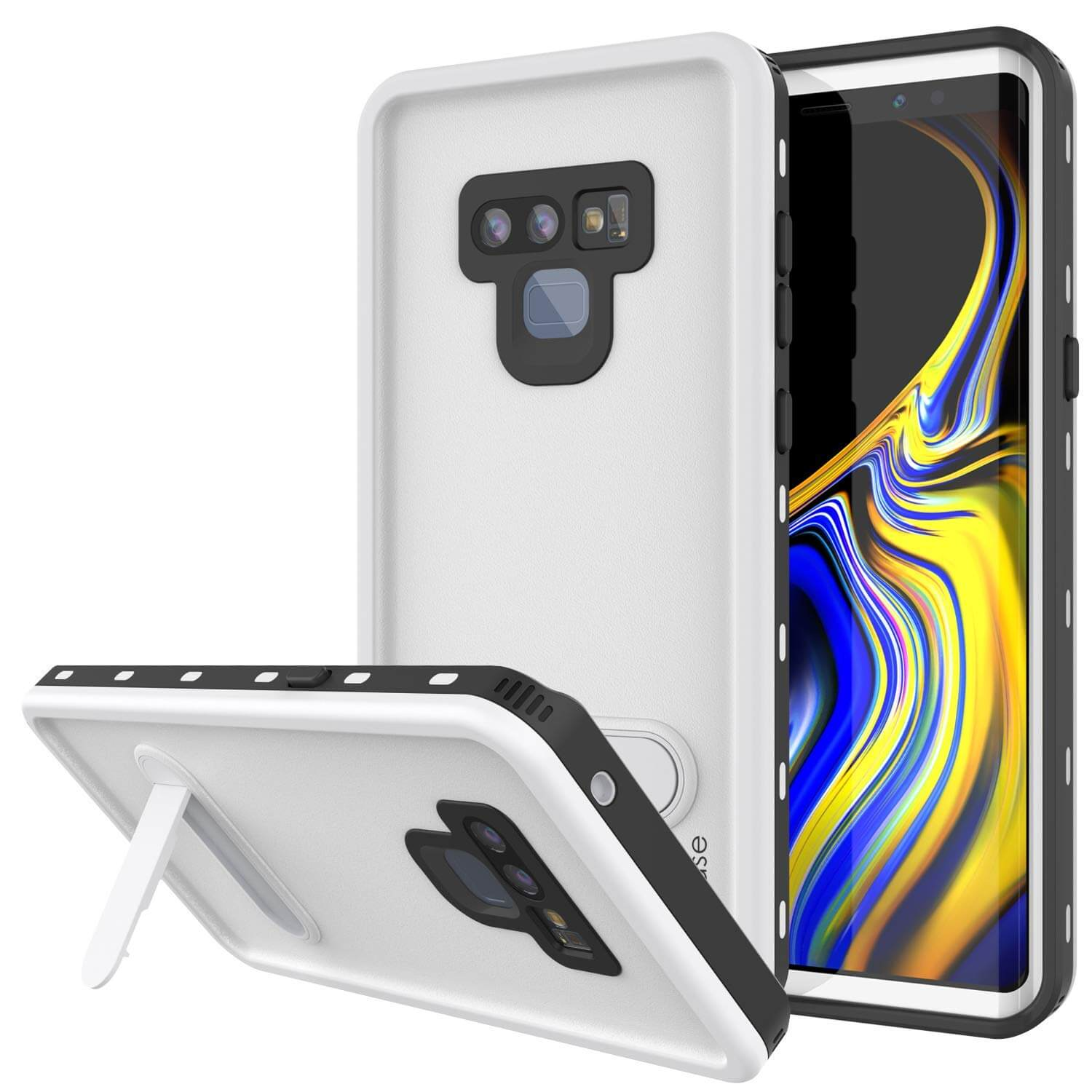 PunkCase Galaxy Note 9 Waterproof Case, [KickStud Series] Armor Cover [White]
