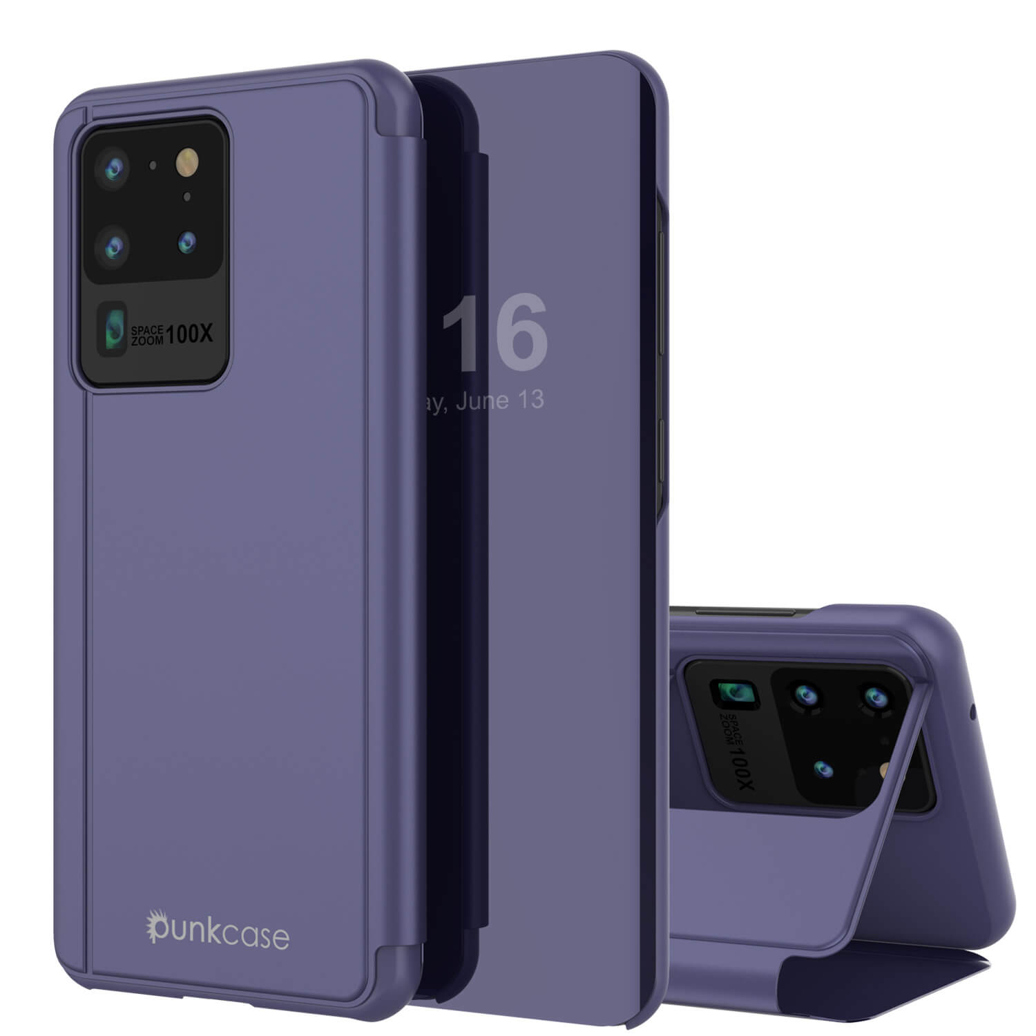 Punkcase Galaxy S20 Ultra Reflector Case Protective Flip Cover [Purple]