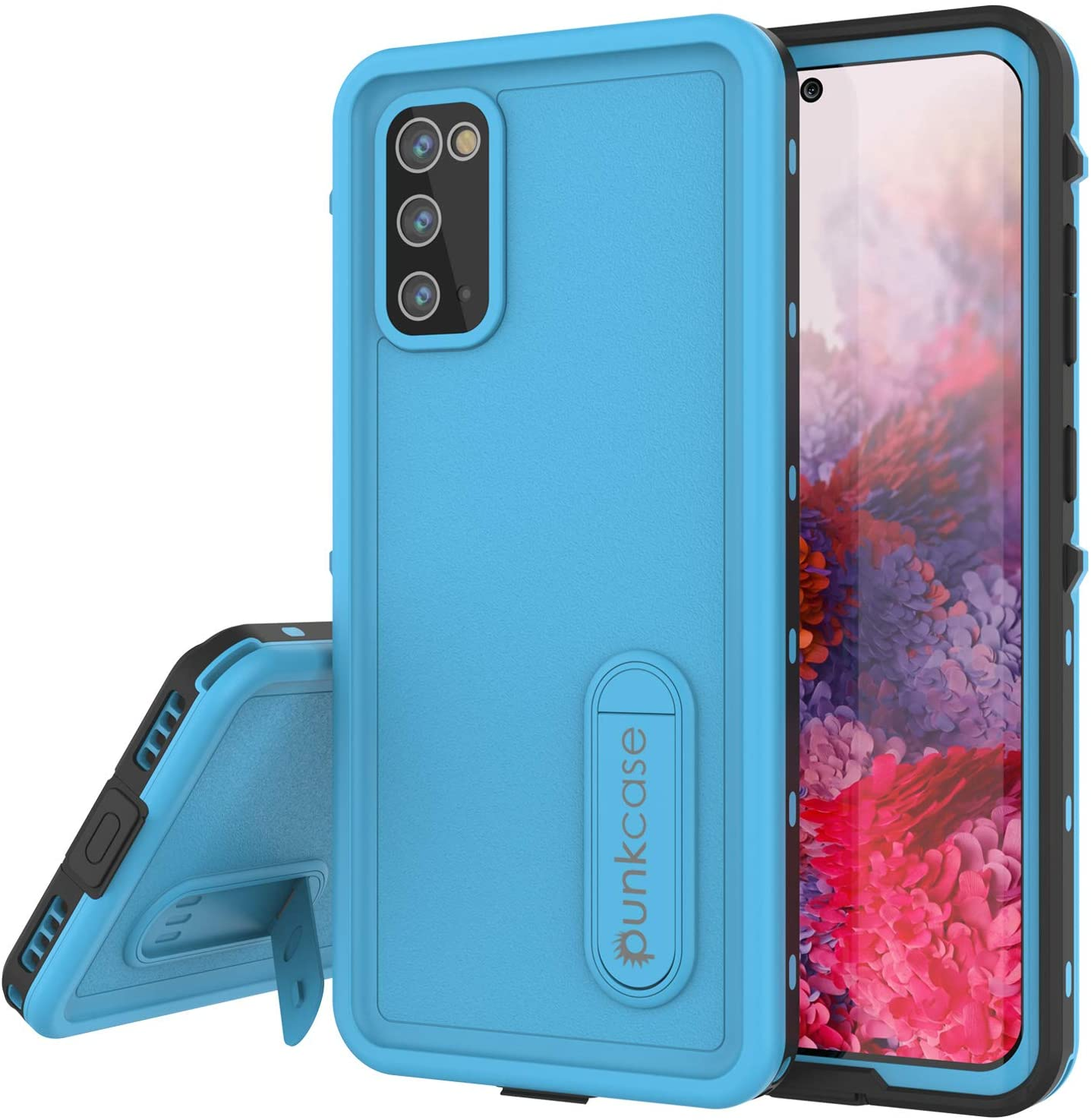 Galaxy S20 Waterproof Case, Punkcase [KickStud Series] Armor Cover [Light Blue]