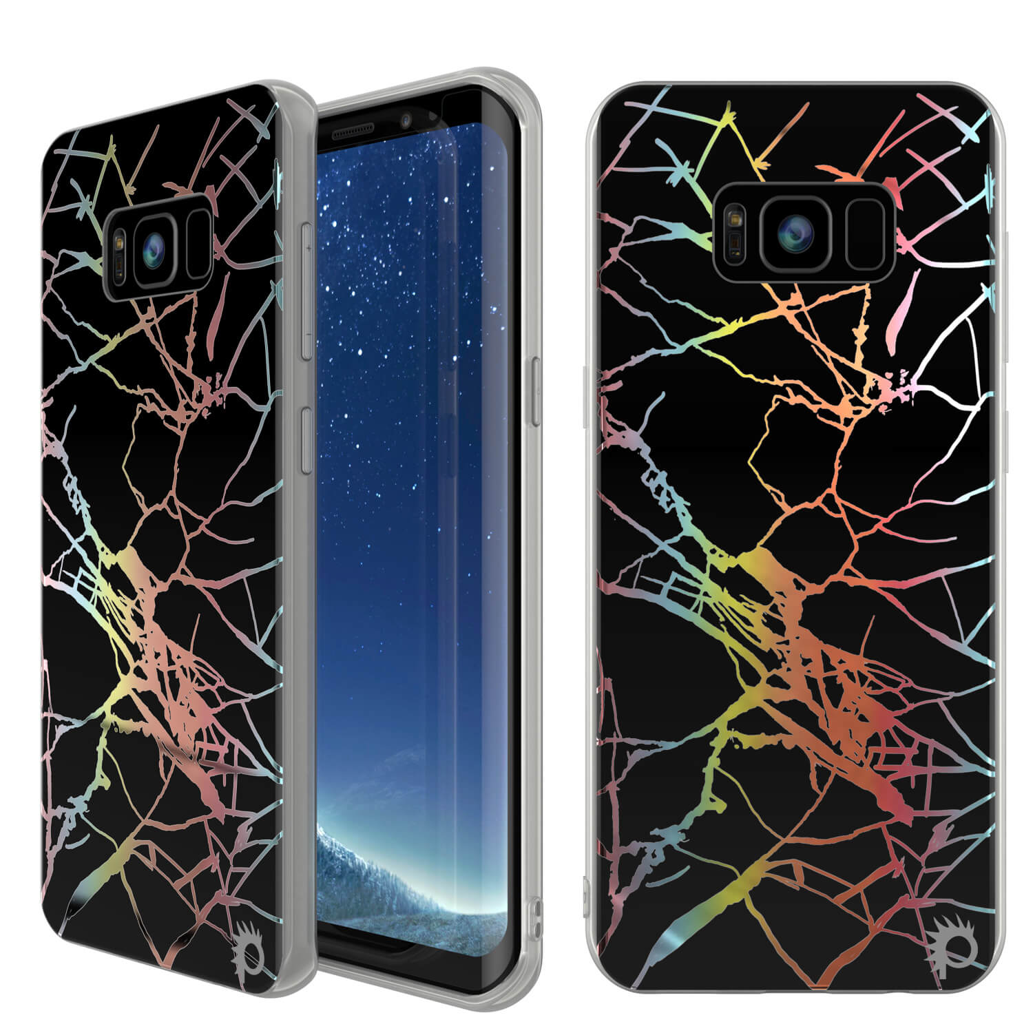 Punkcase Galaxy S8+ PLUS Marble Case, Protective Full Body Cover W/PunkShield Screen Protector (Black Mirage)