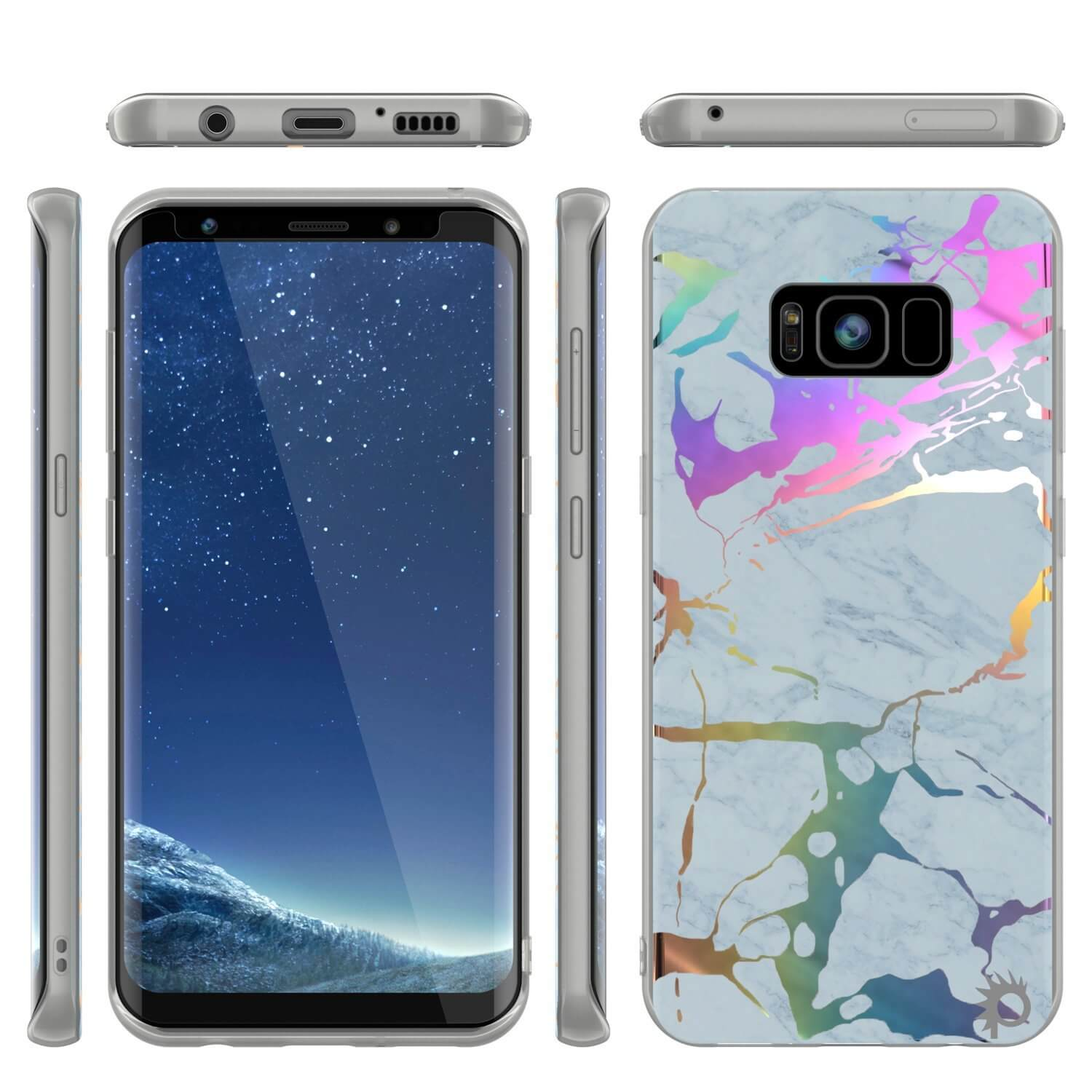 Punkcase Galaxy S8+ PLUS Marble Case, Protective Full Body Cover W/PunkShield Screen Protector (Blue Marmo)