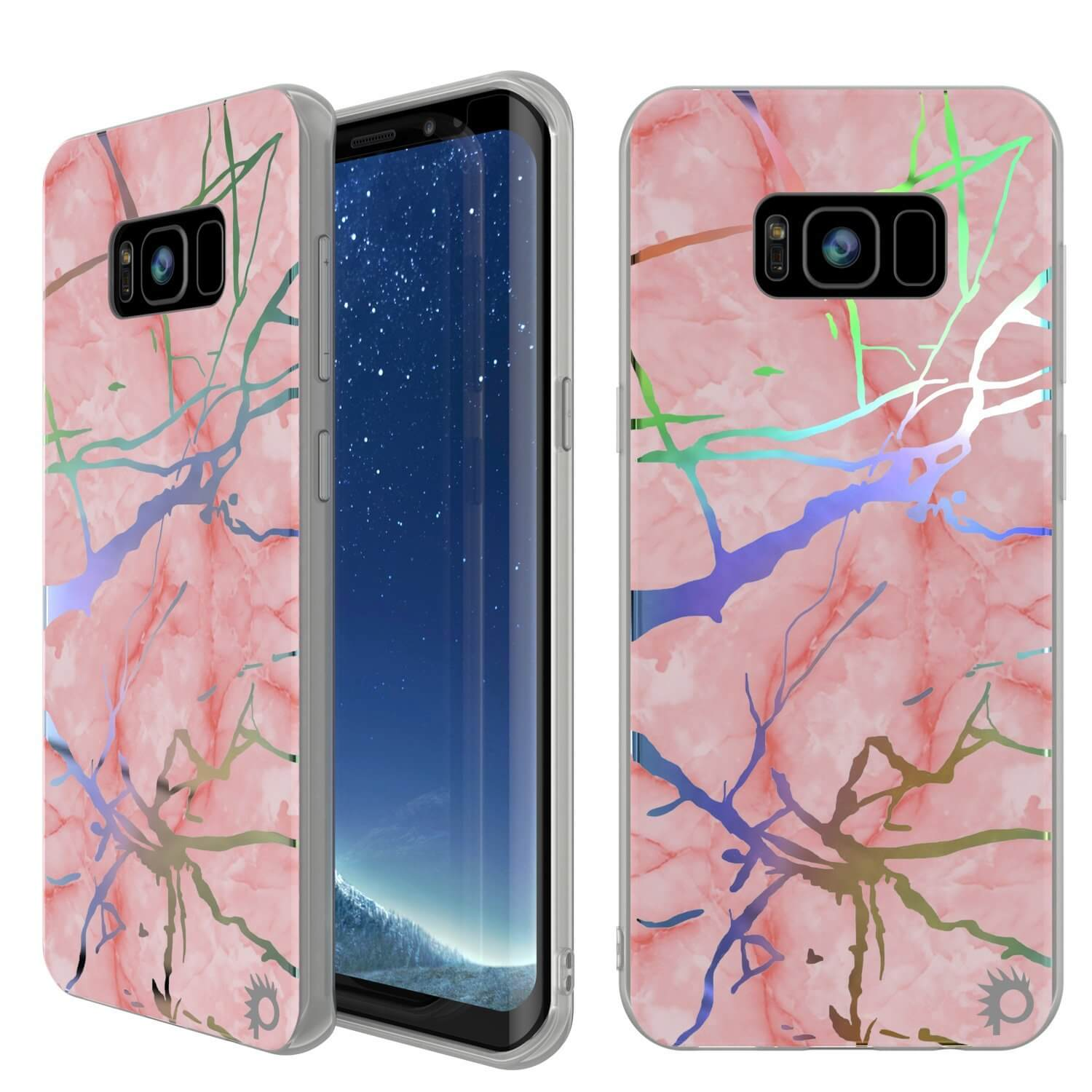 Punkcase Galaxy S8+ PLUS Marble Case, Protective Full Body Cover W/PunkShield Screen Protector (Rose Mirage)