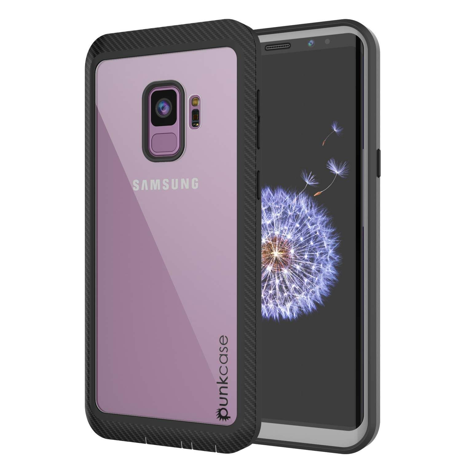 on sale f9602 56ae3 PunkCase Galaxy S9 Case, [Spartan Series] Clear Rugged Heavy Duty Cover  W/Built in Screen Protector [Black]