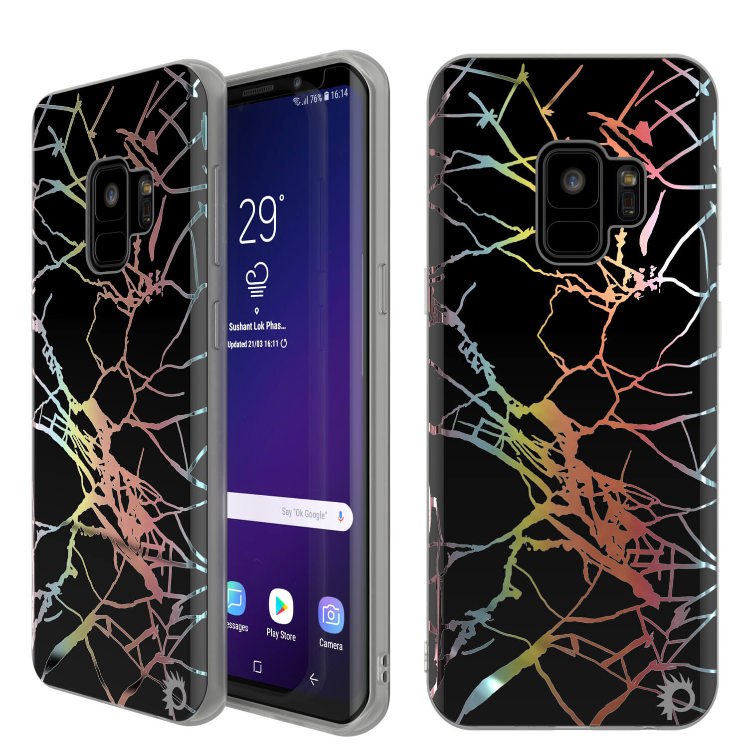 Punkcase Galaxy S9 Marble Case, Protective Full Body Cover W/PunkShield Screen Protector (Black Mirage)