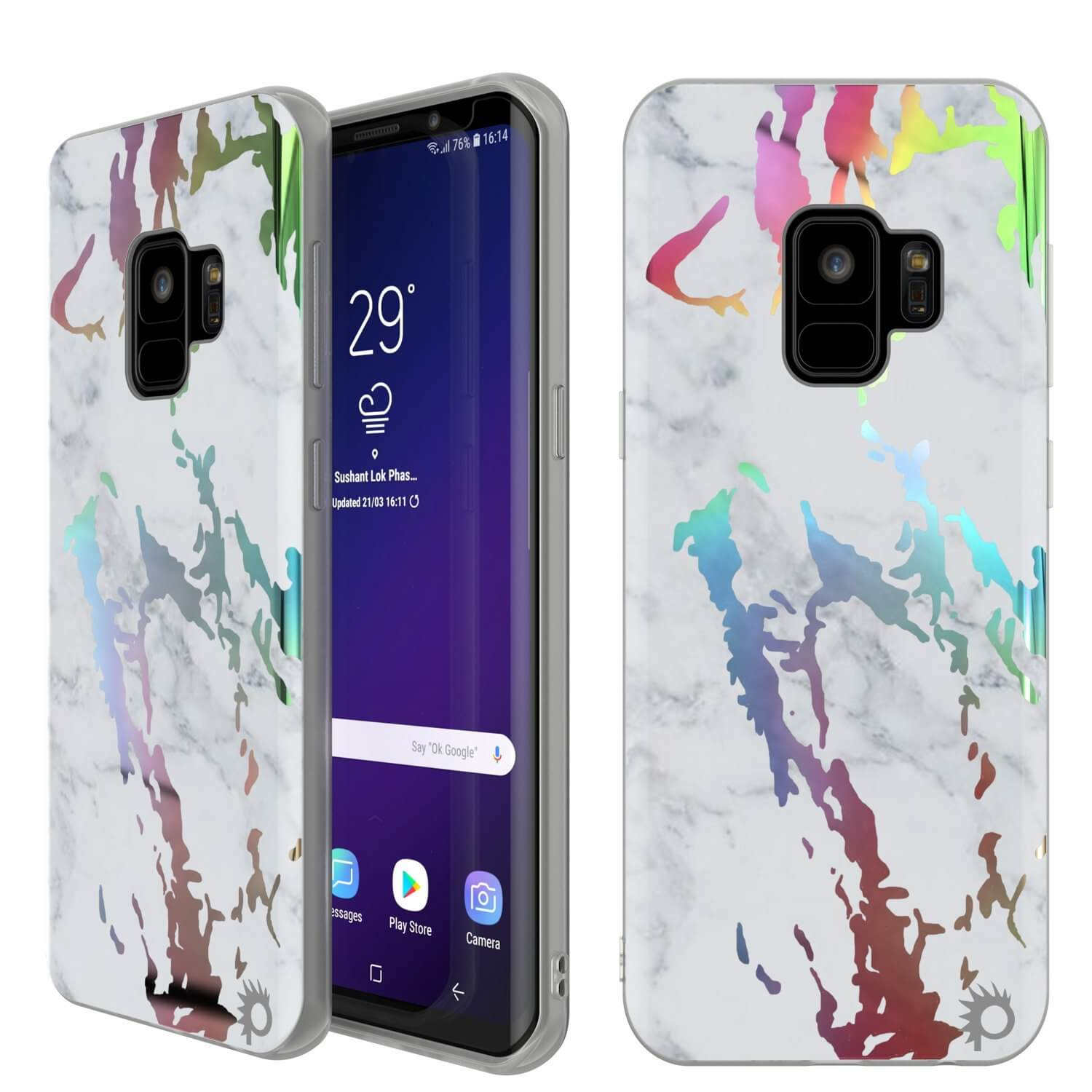 Punkcase Galaxy S9 Marble Case, Protective Full Body Cover W/PunkShield Screen Protector (Blanco Marmo)