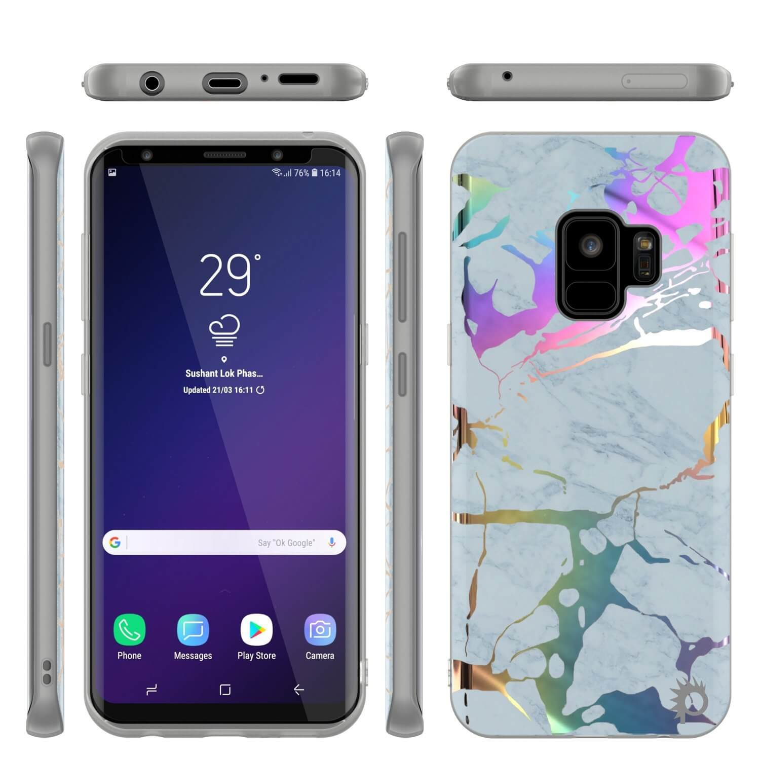 Punkcase Galaxy S9 Marble Case, Protective Full Body Cover W/PunkShield Screen Protector (Blue Marmo)