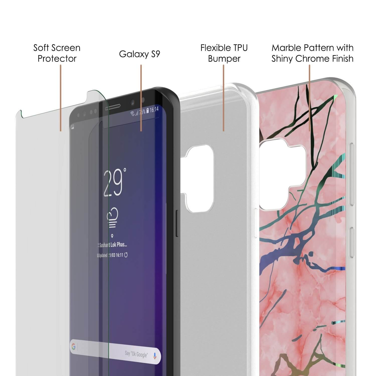 Punkcase Galaxy S9 Marble Case, Protective Full Body Cover W/PunkShield Screen Protector (Rose Mirage)