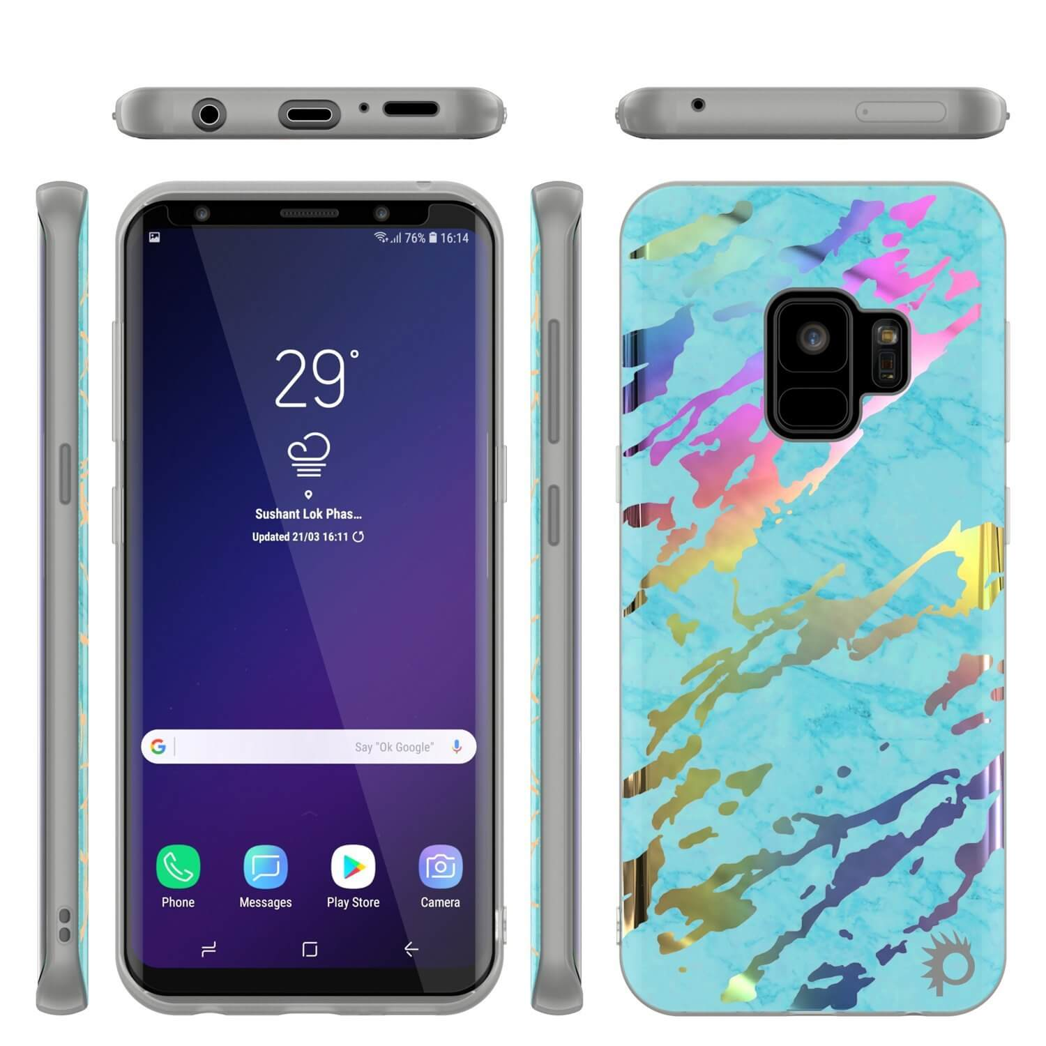 Punkcase Galaxy S9 Marble Case, Protective Full Body Cover W/PunkShield Screen Protector (Teal Onyx)