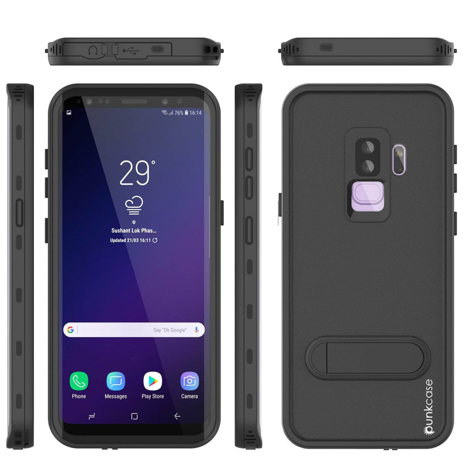 Galaxy S9 Plus Waterproof Case, Punkcase [KickStud Series] Armor Cover [BLACK]