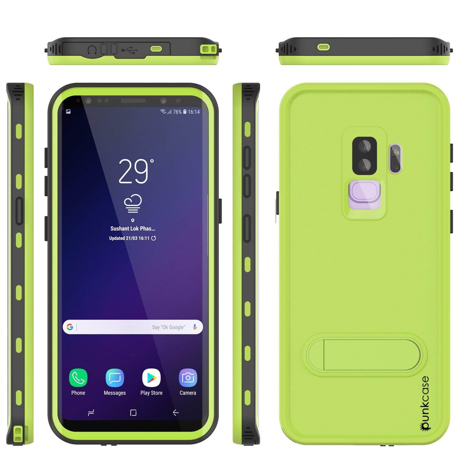Galaxy S9 Plus Waterproof Case, Punkcase [KickStud Series] Armor Cover [LIGHT GREEN]