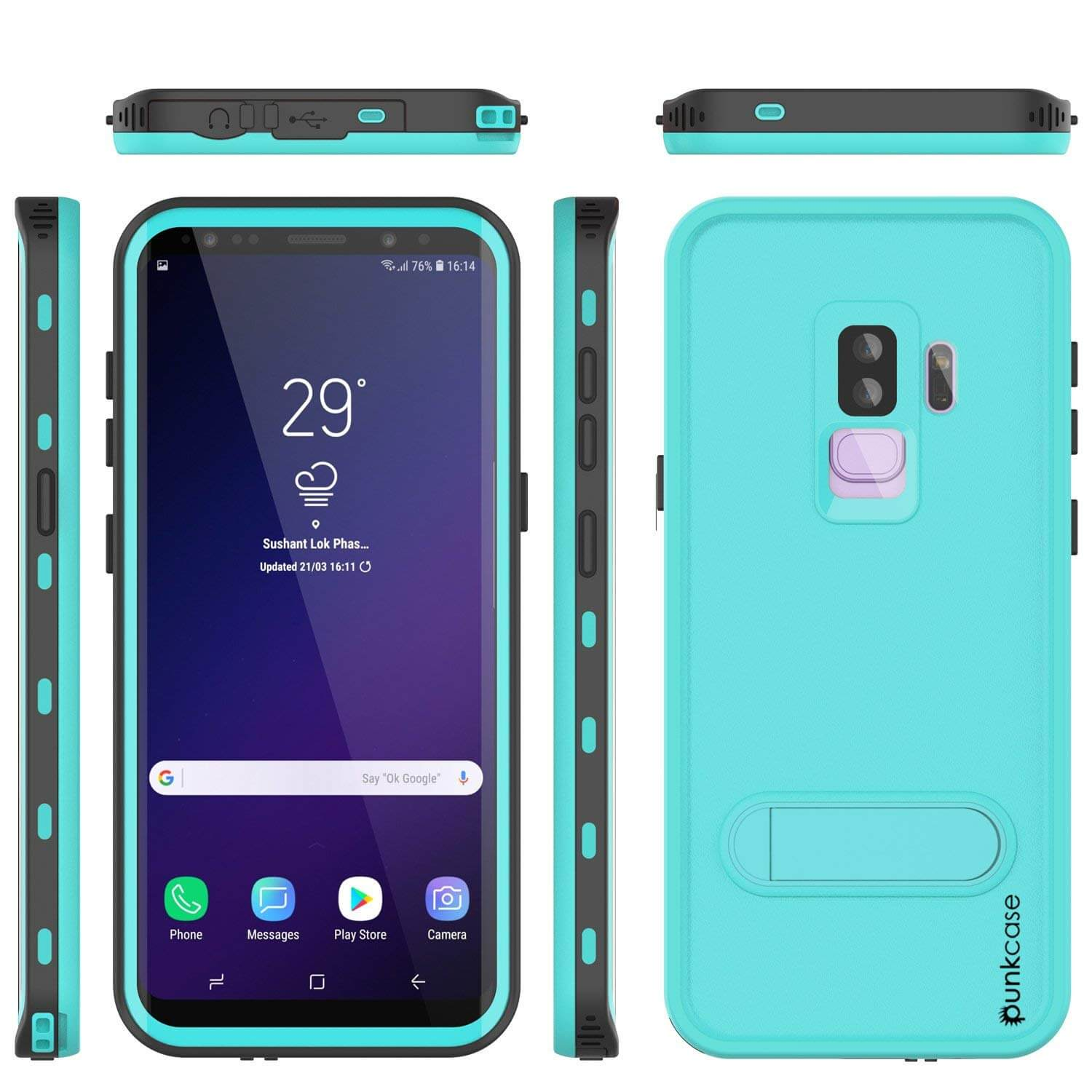 Galaxy S9 Plus Waterproof Case, Punkcase [KickStud Series] Armor Cover [TEAL]