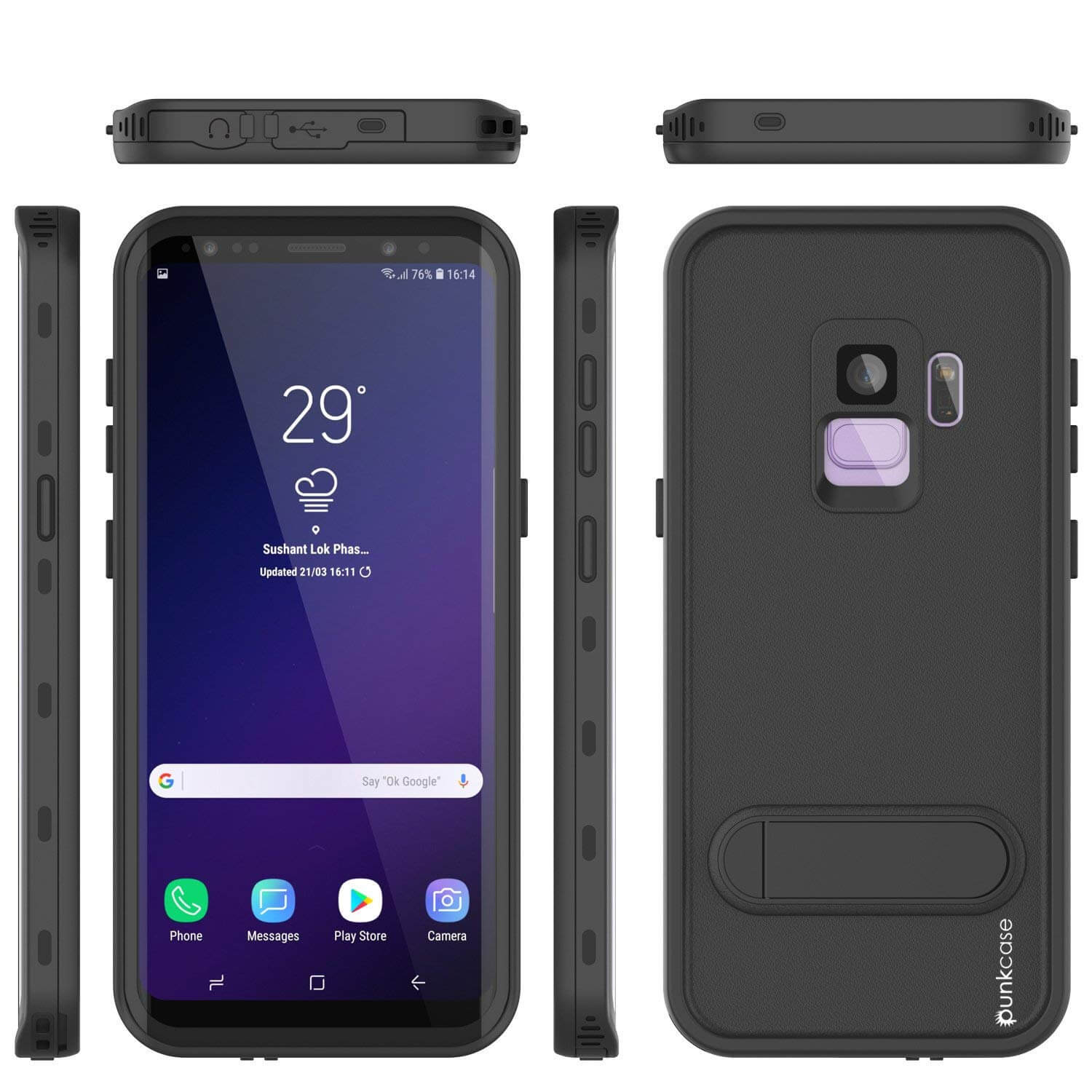 Galaxy S9 Waterproof Case, Punkcase [KickStud Series] Armor Cover [BLACK]