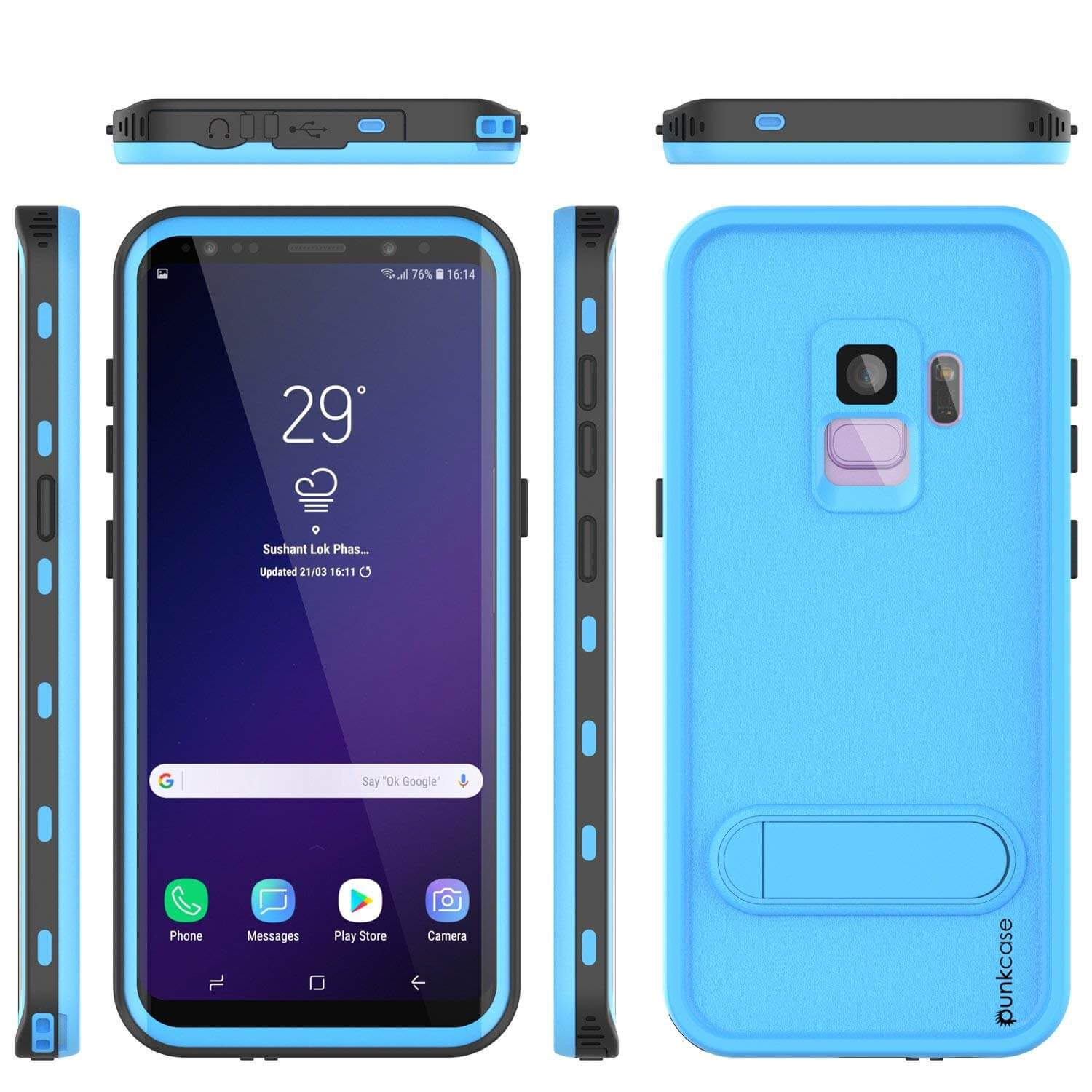 Galaxy S9 Waterproof Case, Punkcase [KickStud Series] Armor Cover [LIGHT BLUE]