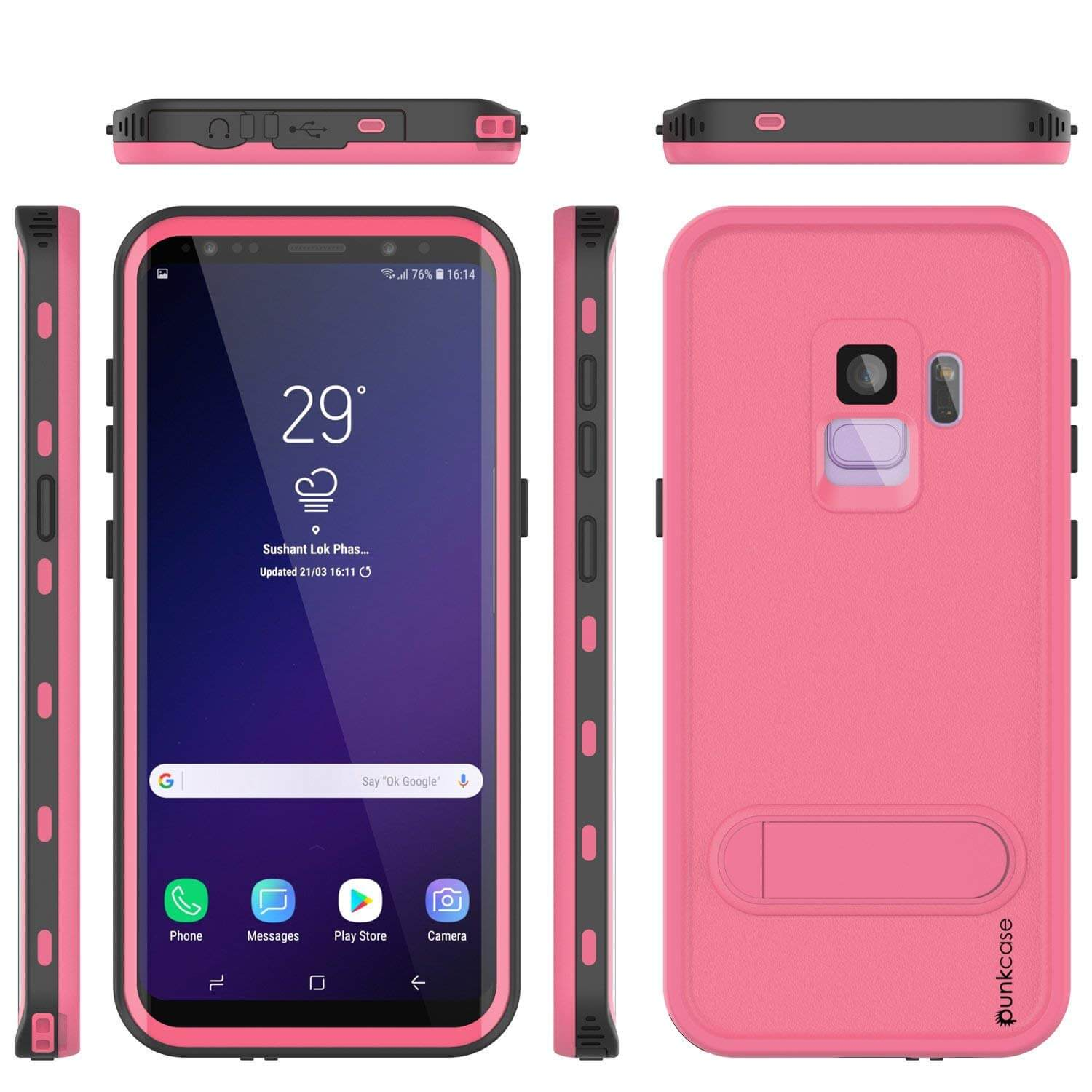 Galaxy S9 Waterproof Case, Punkcase [KickStud Series] Armor Cover [PINK]