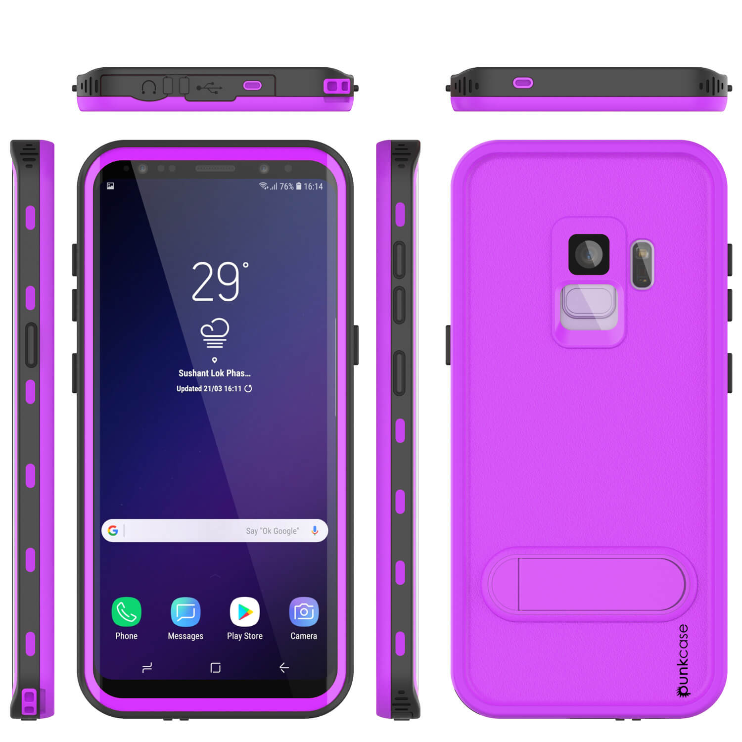 Galaxy S9 Waterproof Case, Punkcase [KickStud Series] Armor Cover [PURPLE]