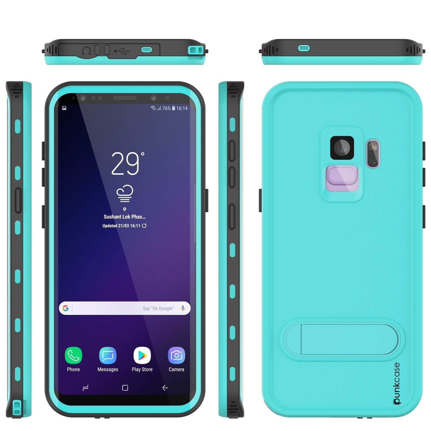 Galaxy S9 Waterproof Case, Punkcase [KickStud Series] Armor Cover [TEAL]