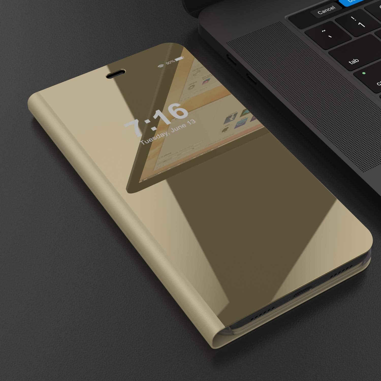 Punkcase XS Reflector Case Protective Flip Cover [Gold]