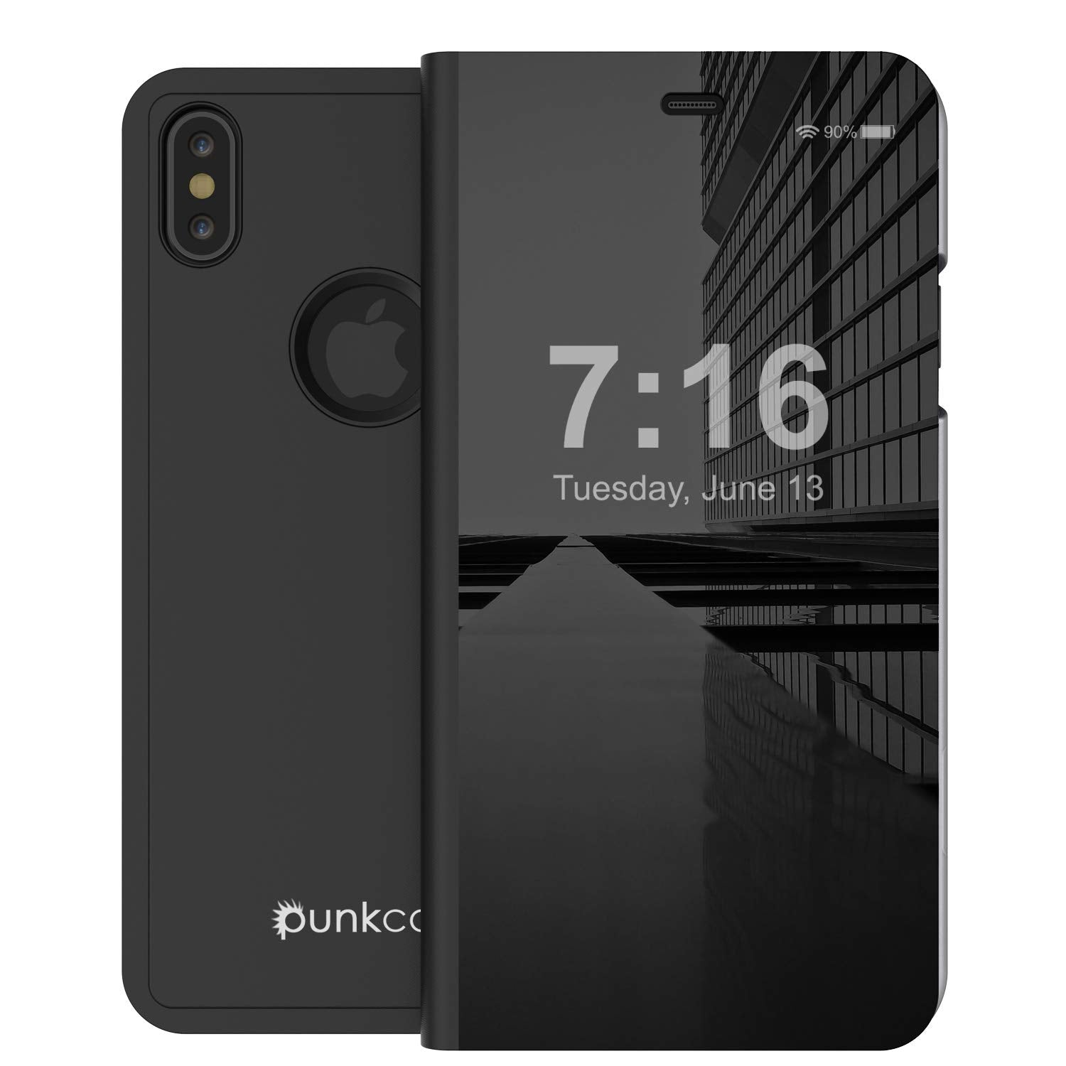 Punkcase iPhone XS Max Reflector Case Protective Flip Cover [Black]