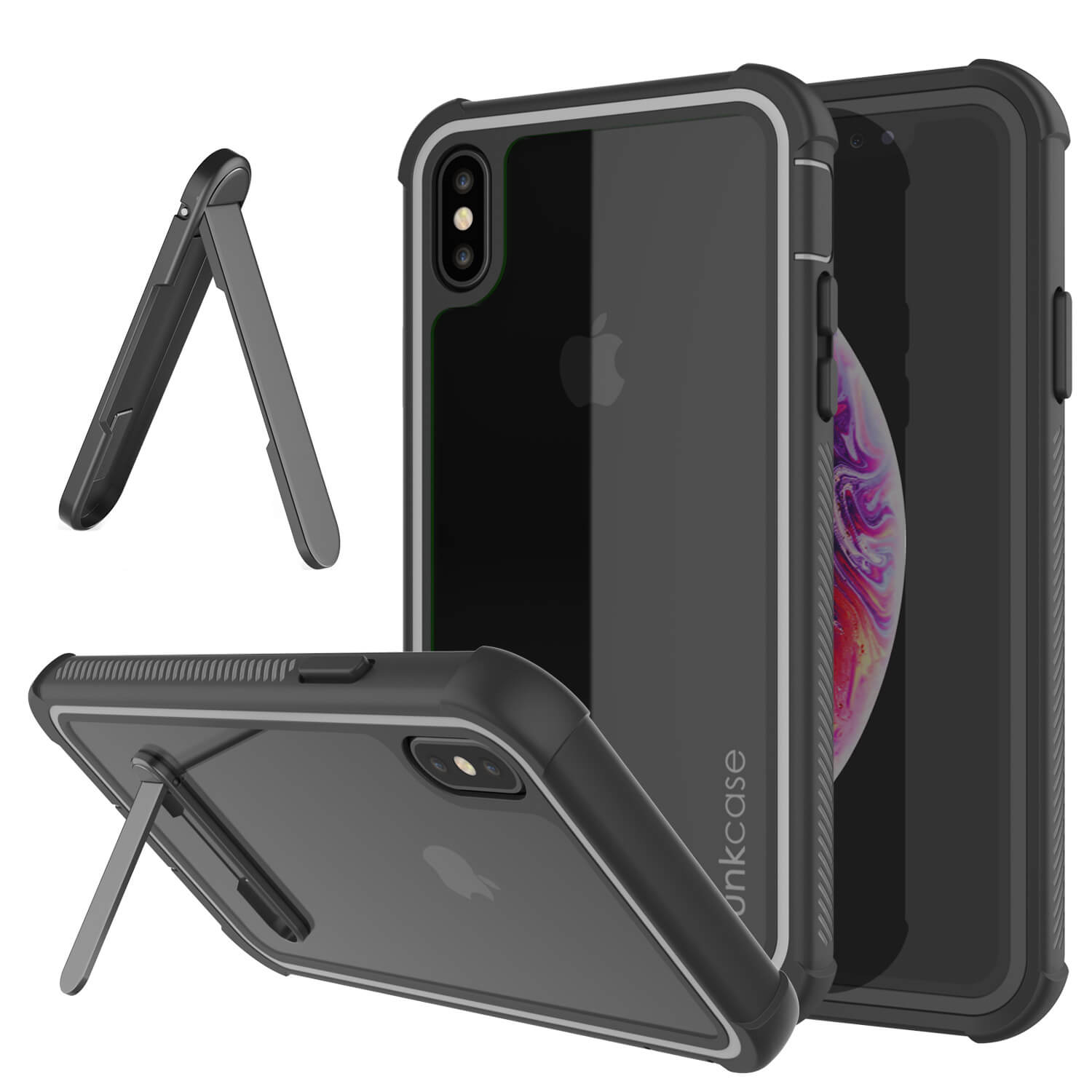 PunkCase iPhone XS Case, [Spartan Series] Clear Rugged Heavy Duty Cover W/Built in Screen Protector [Black]