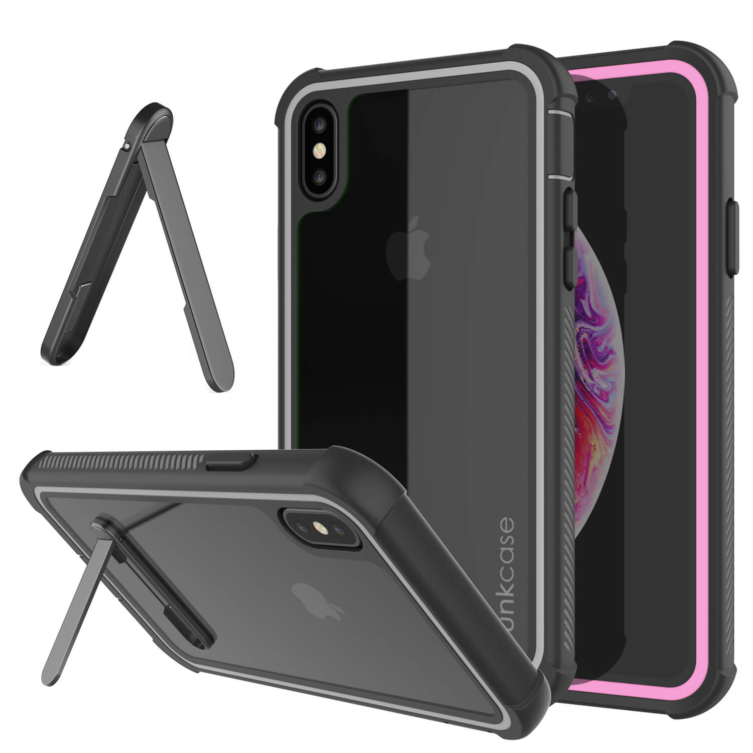 PunkCase iPhone XS Case, [Spartan Series] Clear Rugged Heavy Duty Cover W/Built in Screen Protector [Pink]