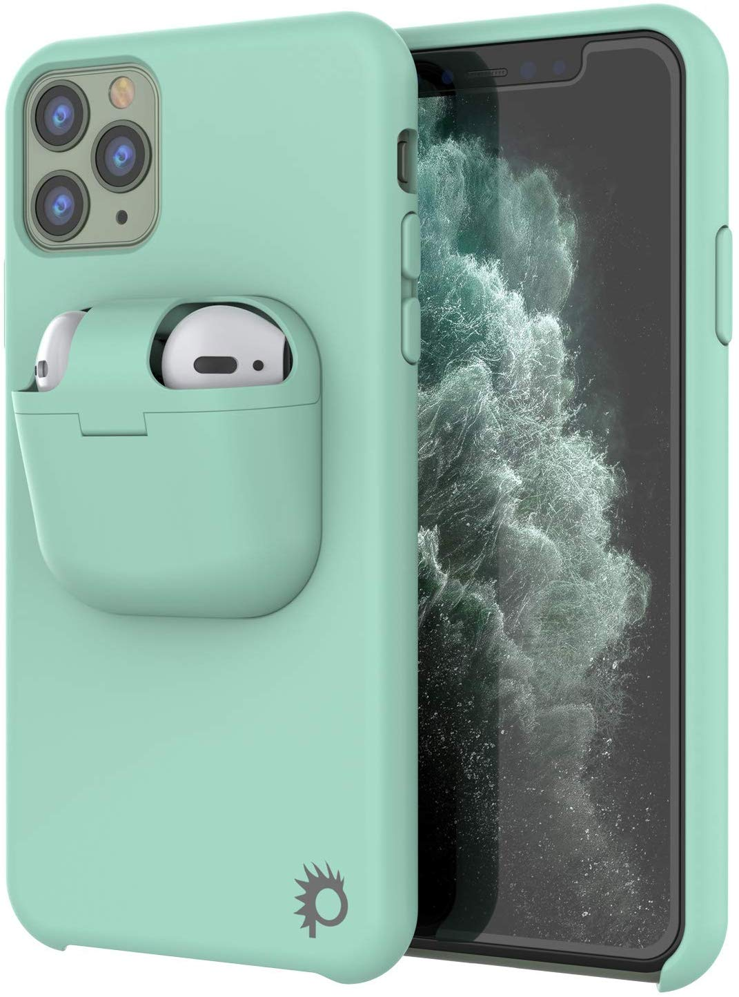 "Punkcase iPhone 11 Pro Airpods Case Holder (CenterPods Series) | Slim & Durable 2 in 1 Cover Designed for iPhone 11 Pro (6.1"") 