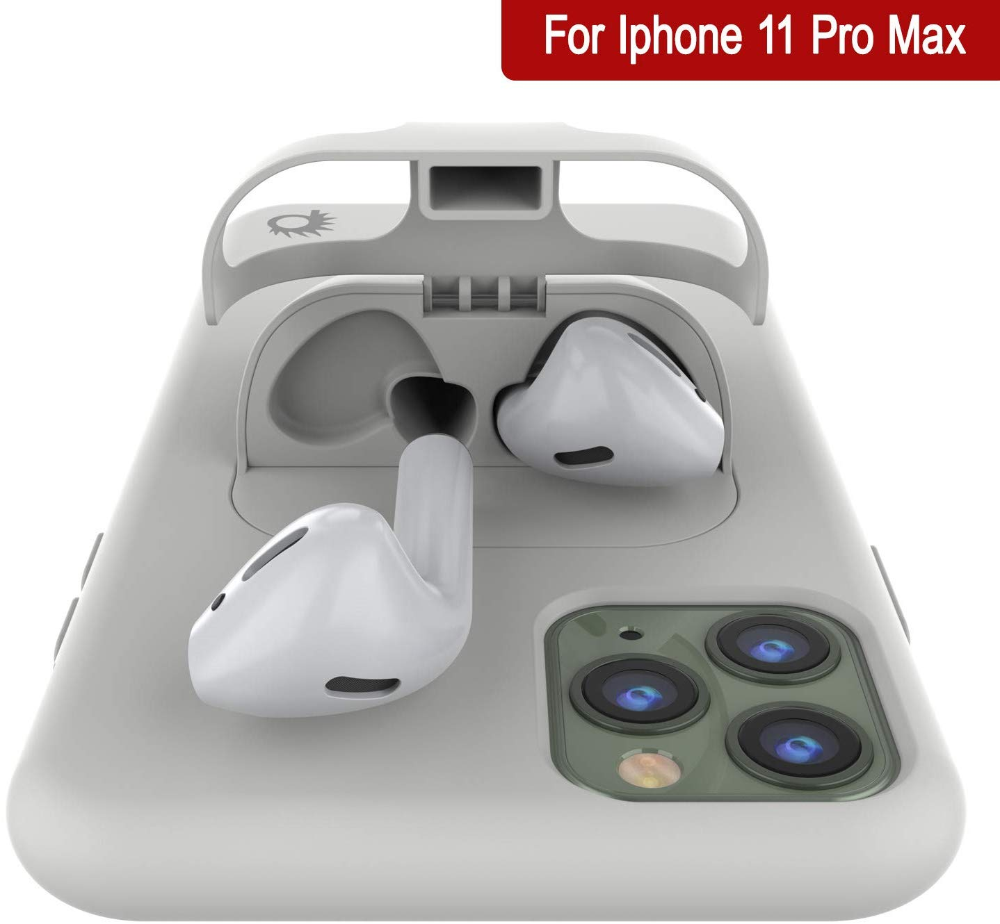 "Punkcase iPhone 11 Pro Max Airpods Case Holder (CenterPods Series) | Slim & Durable 2 in 1 Cover Designed for iPhone 11 Pro Max (6.1"") 