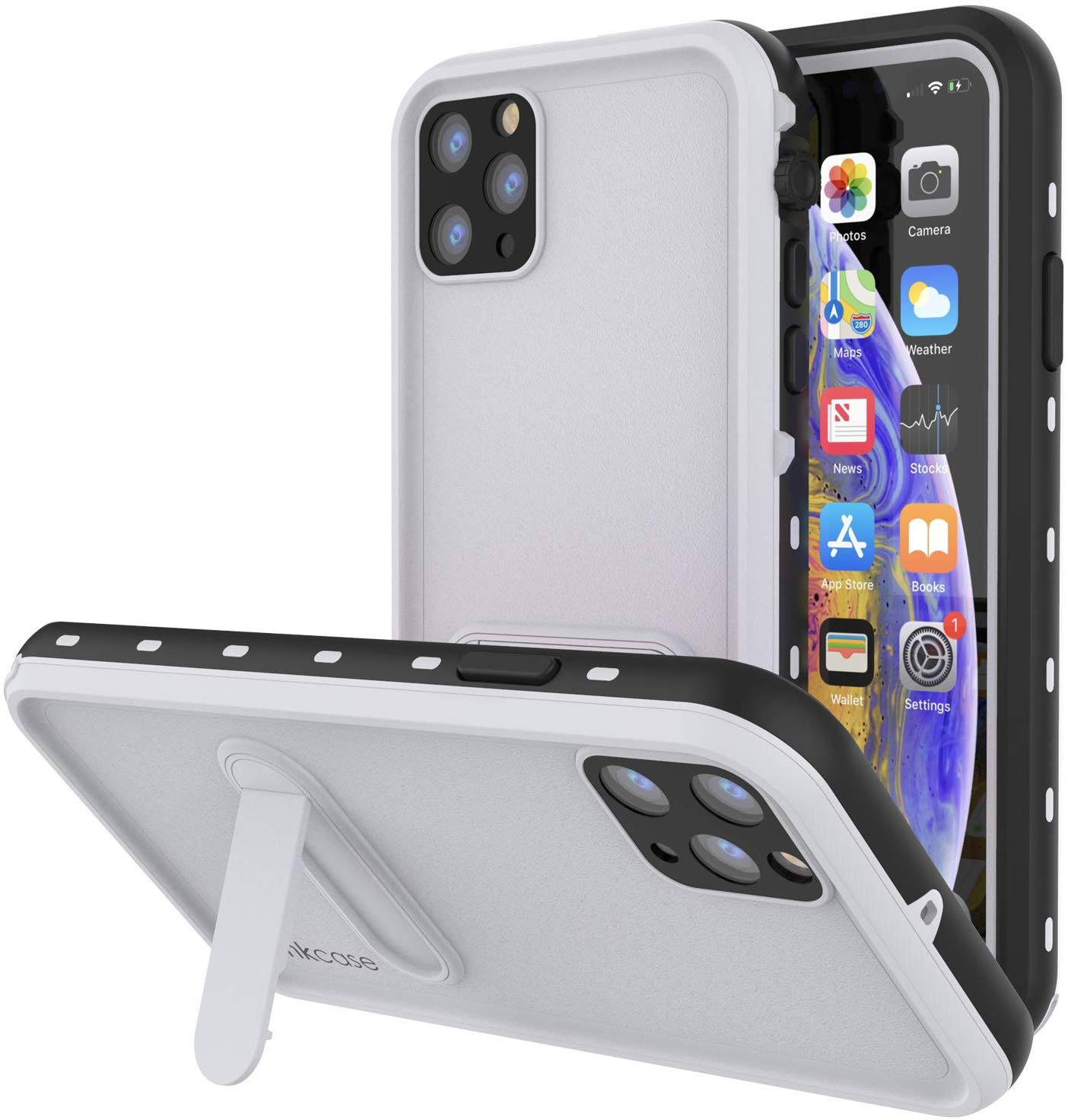 iPhone 11 Pro Max Waterproof Case, Punkcase [KickStud Series] Armor Cover [White]