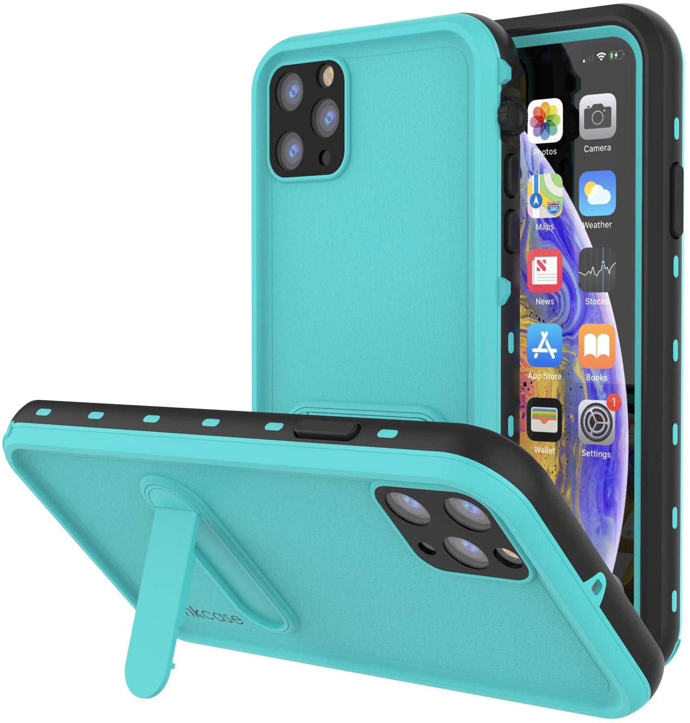 iPhone 11 Pro Max Waterproof Case, Punkcase [KickStud Series] Armor Cover [Teal]