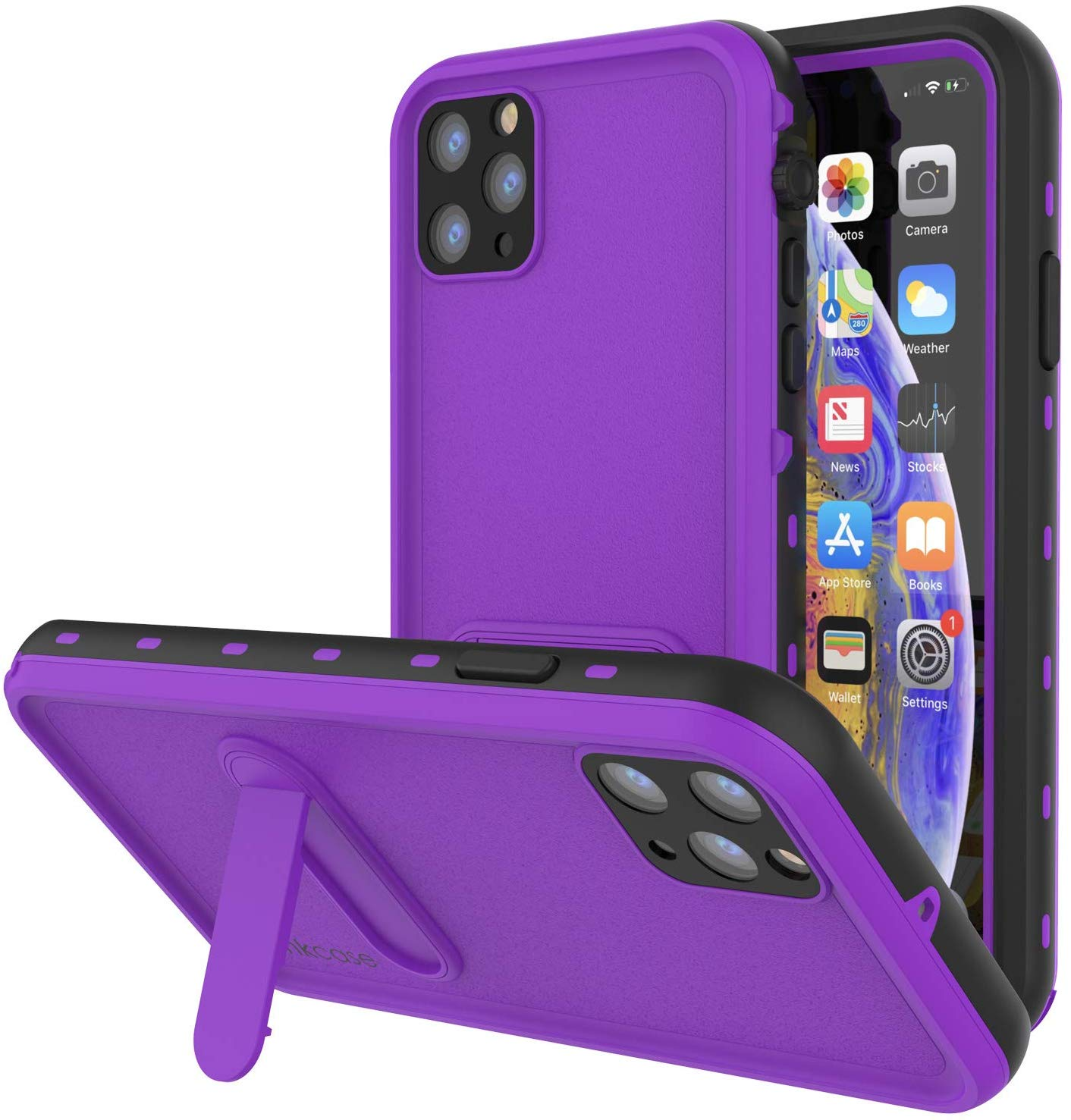 iPhone 11 Pro Max Waterproof Case, Punkcase [KickStud Series] Armor Cover [Purple]