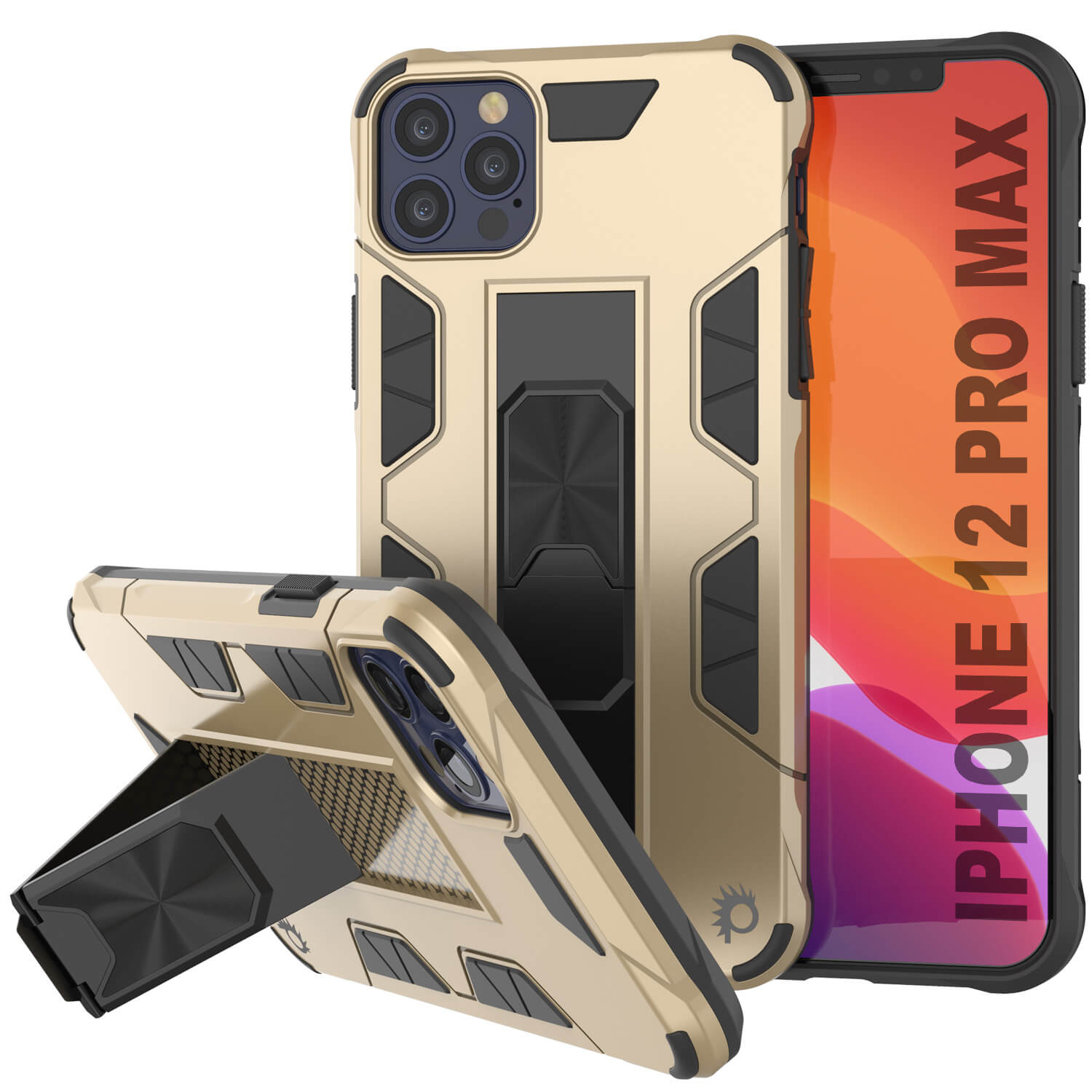 Punkcase iPhone 12 Pro Max Case [ArmorShield Series] Military Style Protective Dual Layer Case Gold